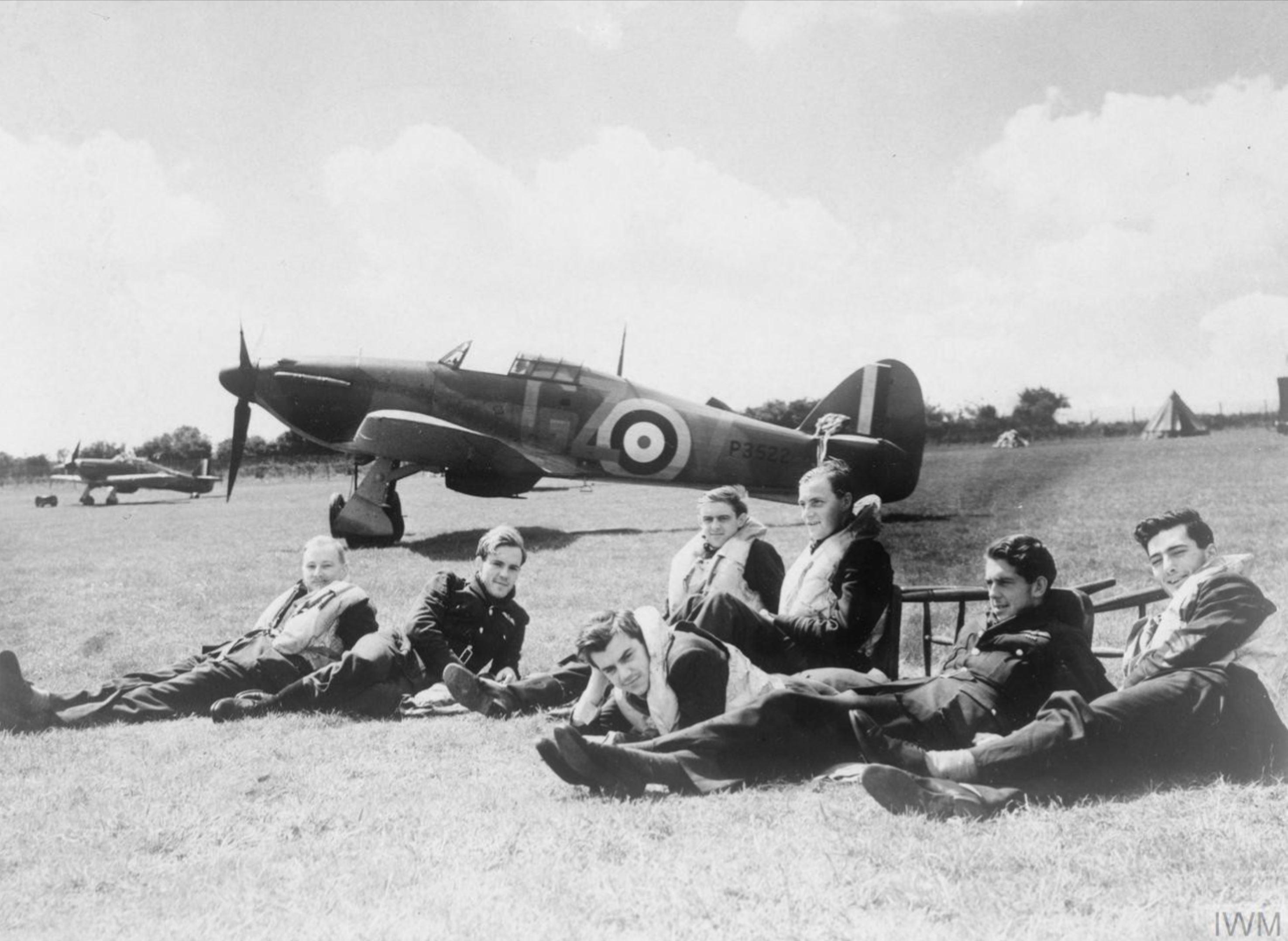 Hurricane I RAF 32Sqn GZV P3522 at Biggin Hill England Aug 1940 IWM HU54418
