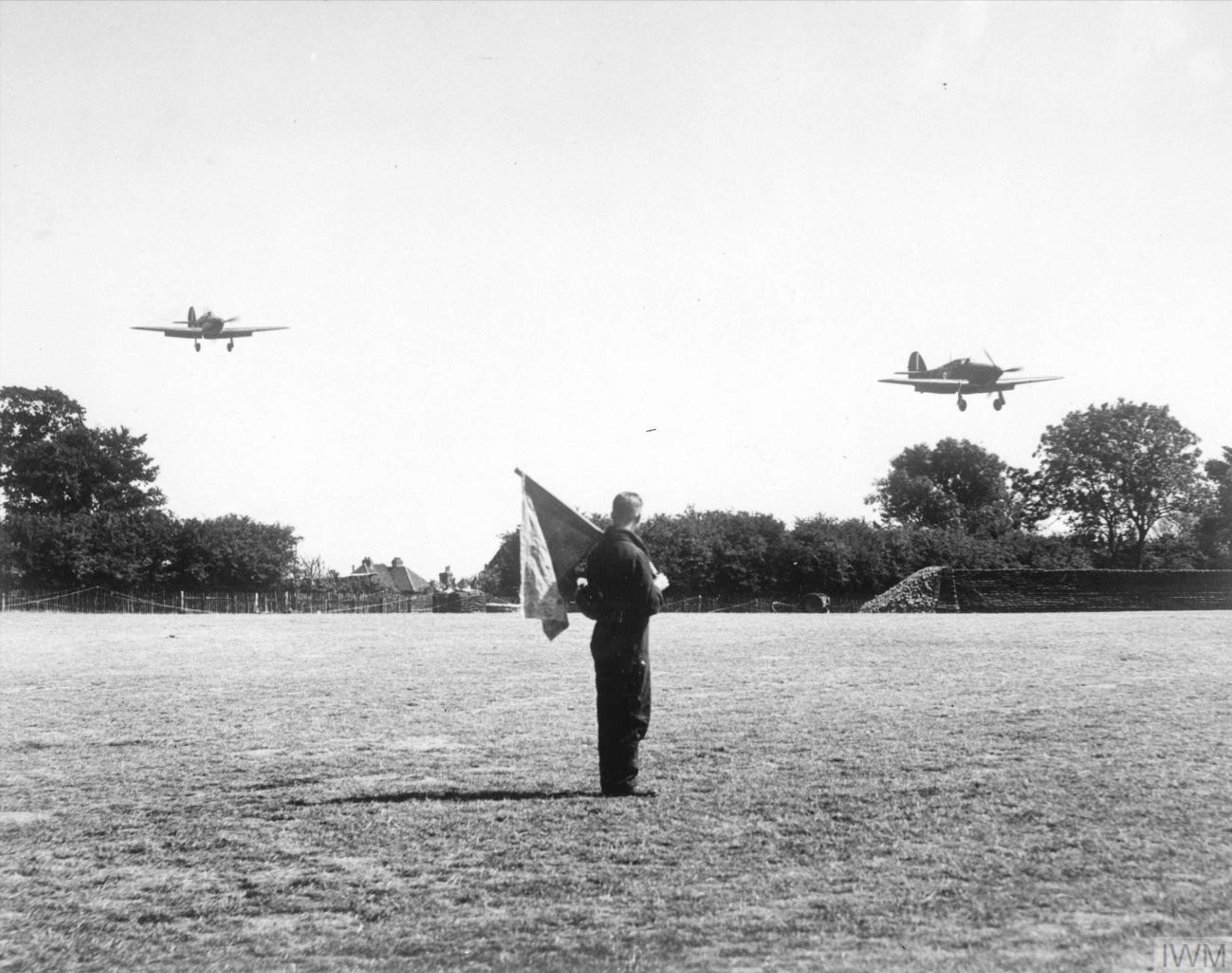 Hurricane I RAF 32Sqn GZZ landing at Biggin Hill England Aug 1940 IWM HU54519A