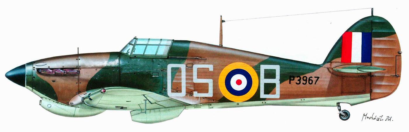 Hawker Hurricane I Trop RAF 3Sqn OSB FLt J Perrin P3967 Libya 5th May 1941 0A