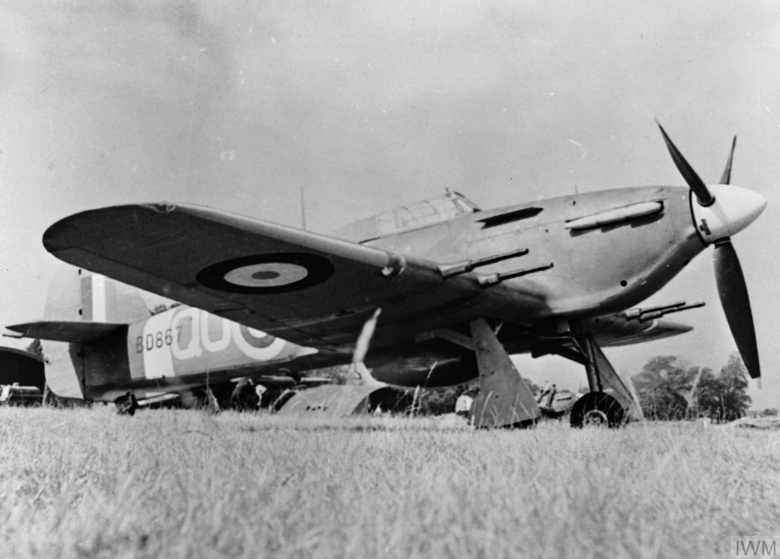 Hawker Hurricane IIc RAF 3Sqn QOY BD867 at Hunsdon Hertfordshire IWM CH3509