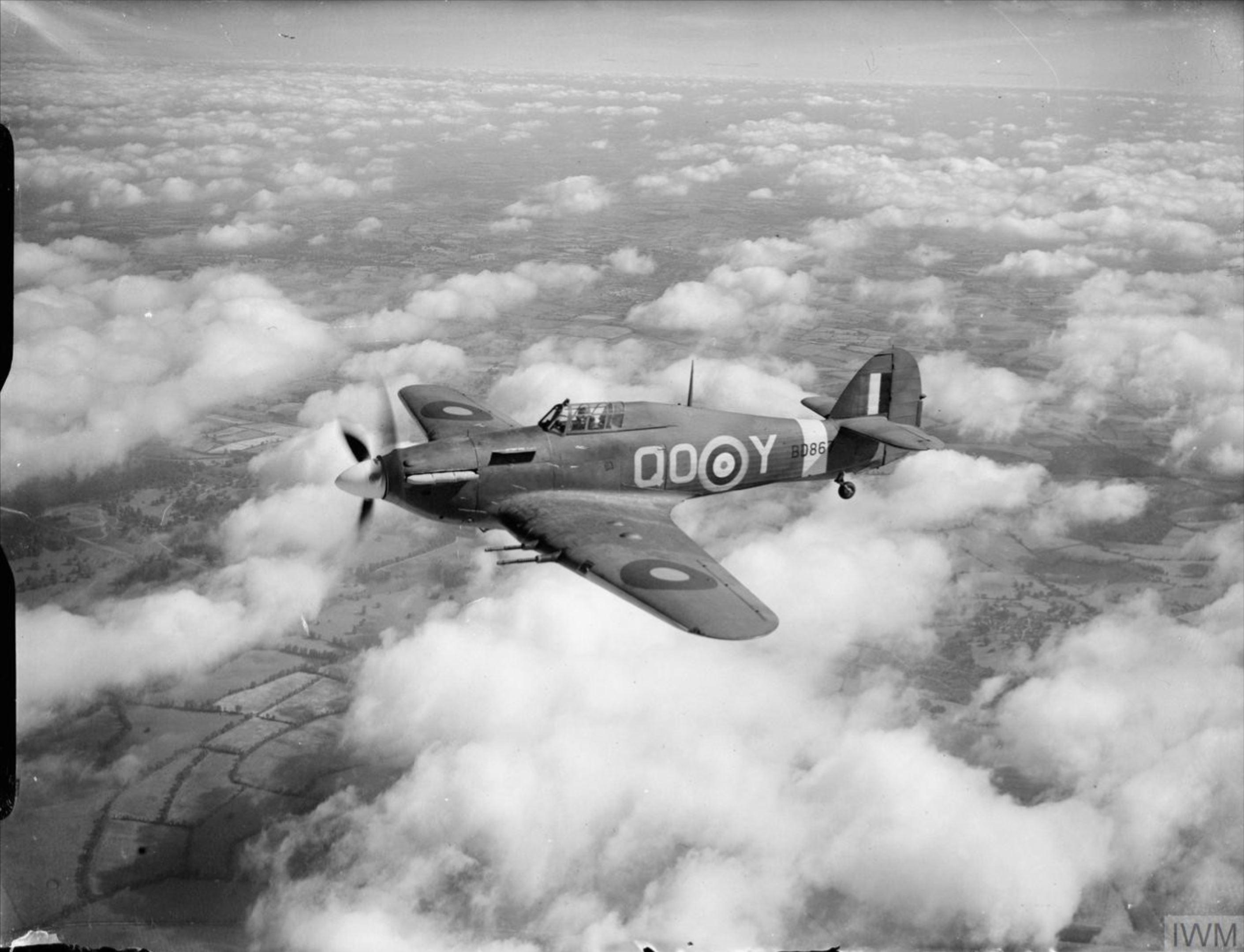 Hawker Hurricane IIc RAF 3Sqn QOY BD867 based at RAF Hundson Hertfordshire 1941 IWM CH3507