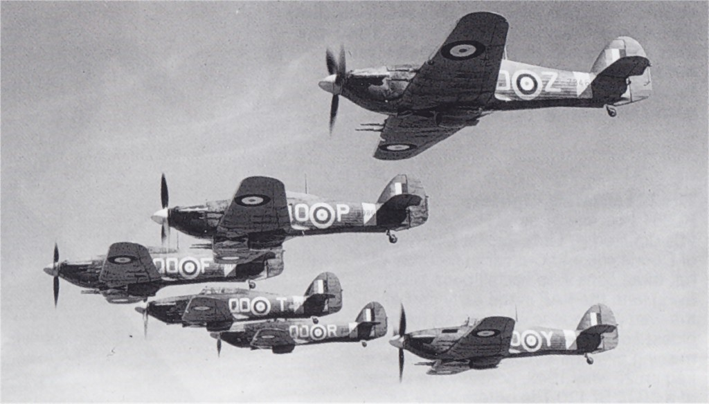 Hawker Hurricane IIc RAF 3Sqn QOZ, QOP, QOF, QOT, QOR and QOY areial formation photo 01