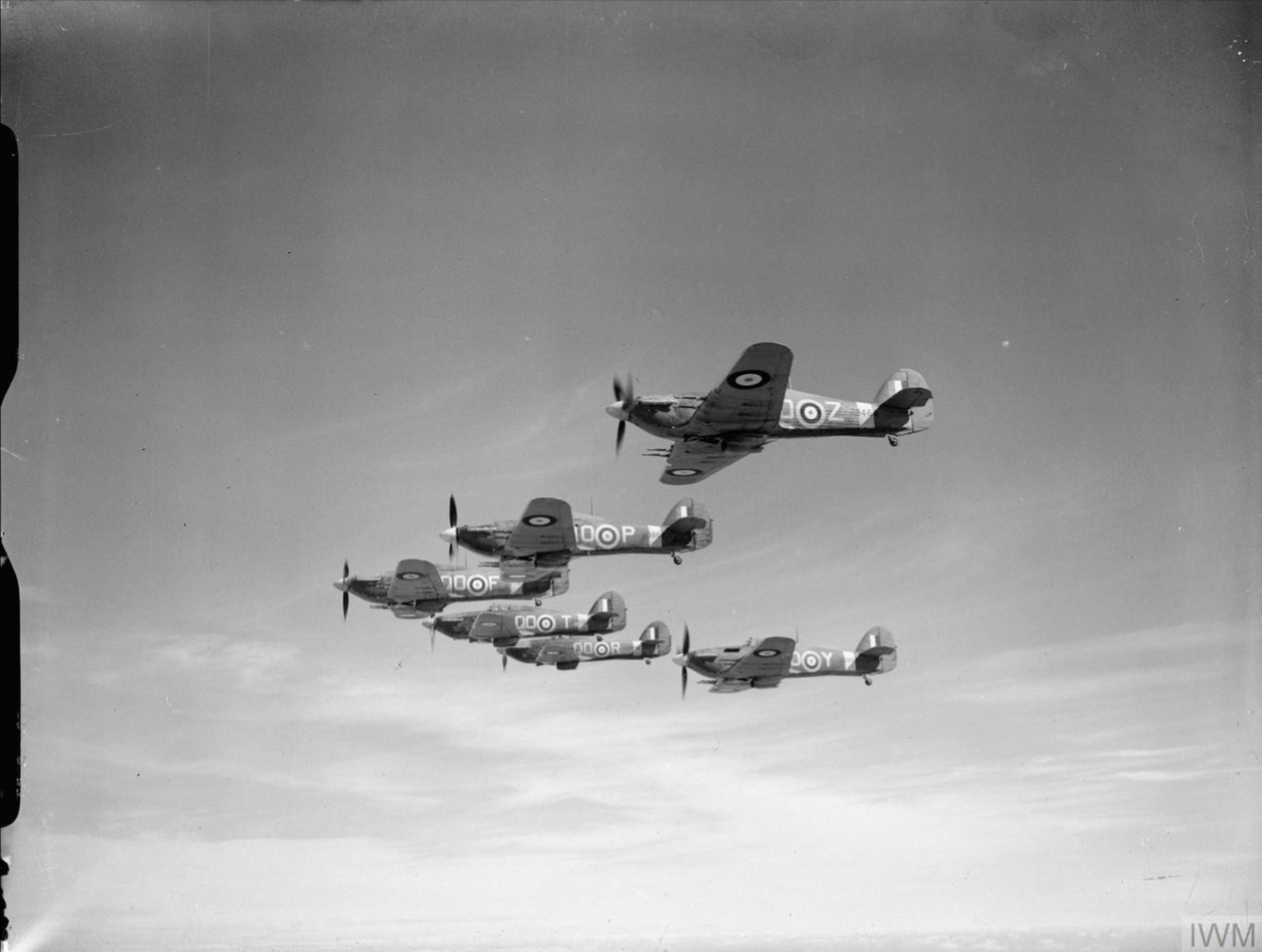 Hawker Hurricane IIc RAF 3Sqn QOZ, QOP, QOF, QOT, QOR and QOY in formation IWM CH3496