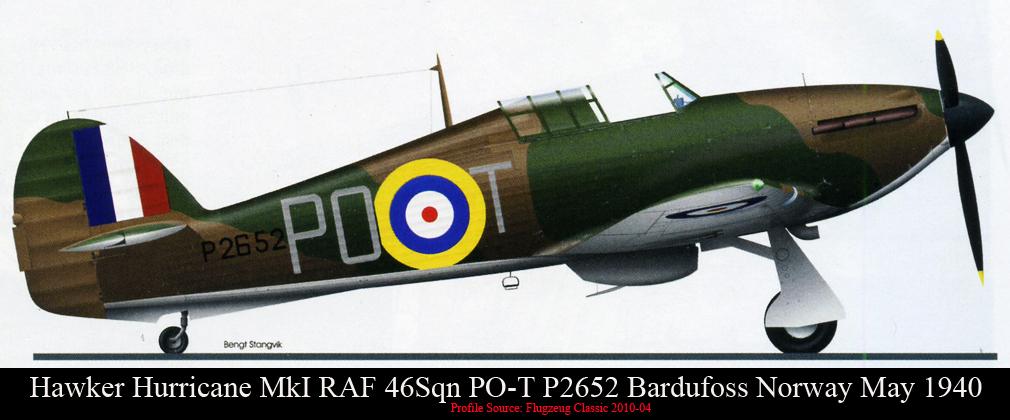 Hawker Hurricane I RAF 46Sqn POT P2652 Bardufoss Norway May 1940 0A