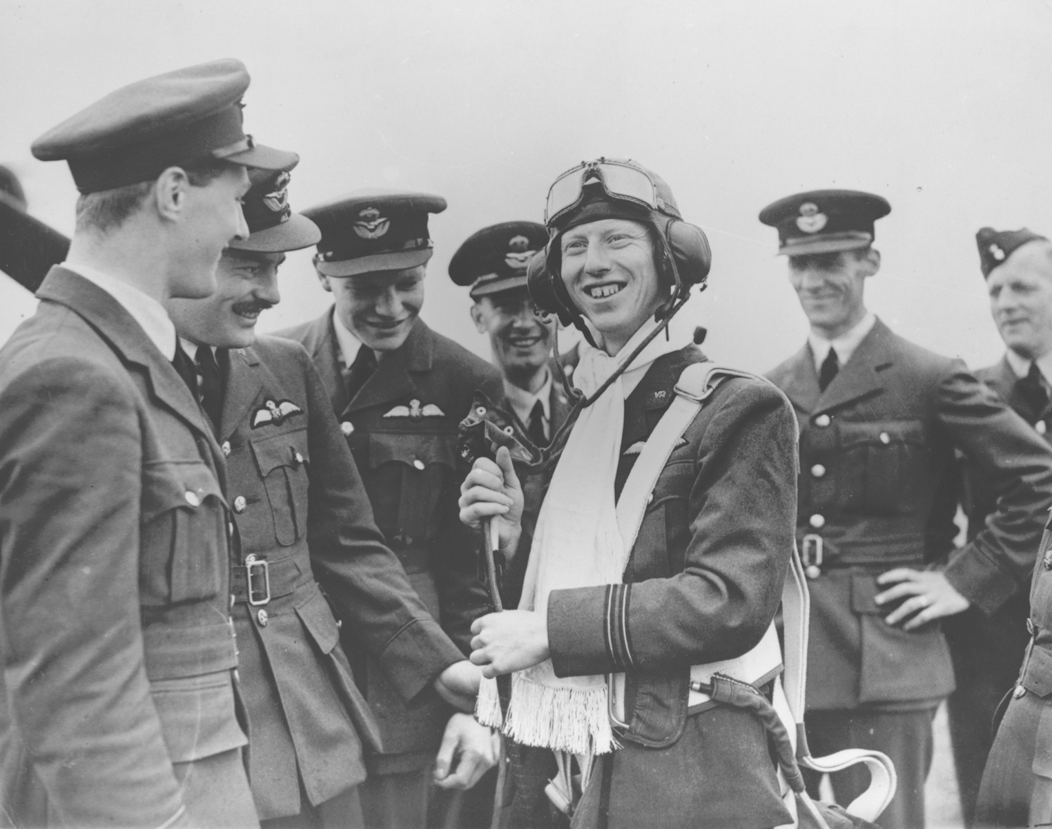 Aircrew RAF ace James Ginger Lacy accepts congratulations from teammates 01