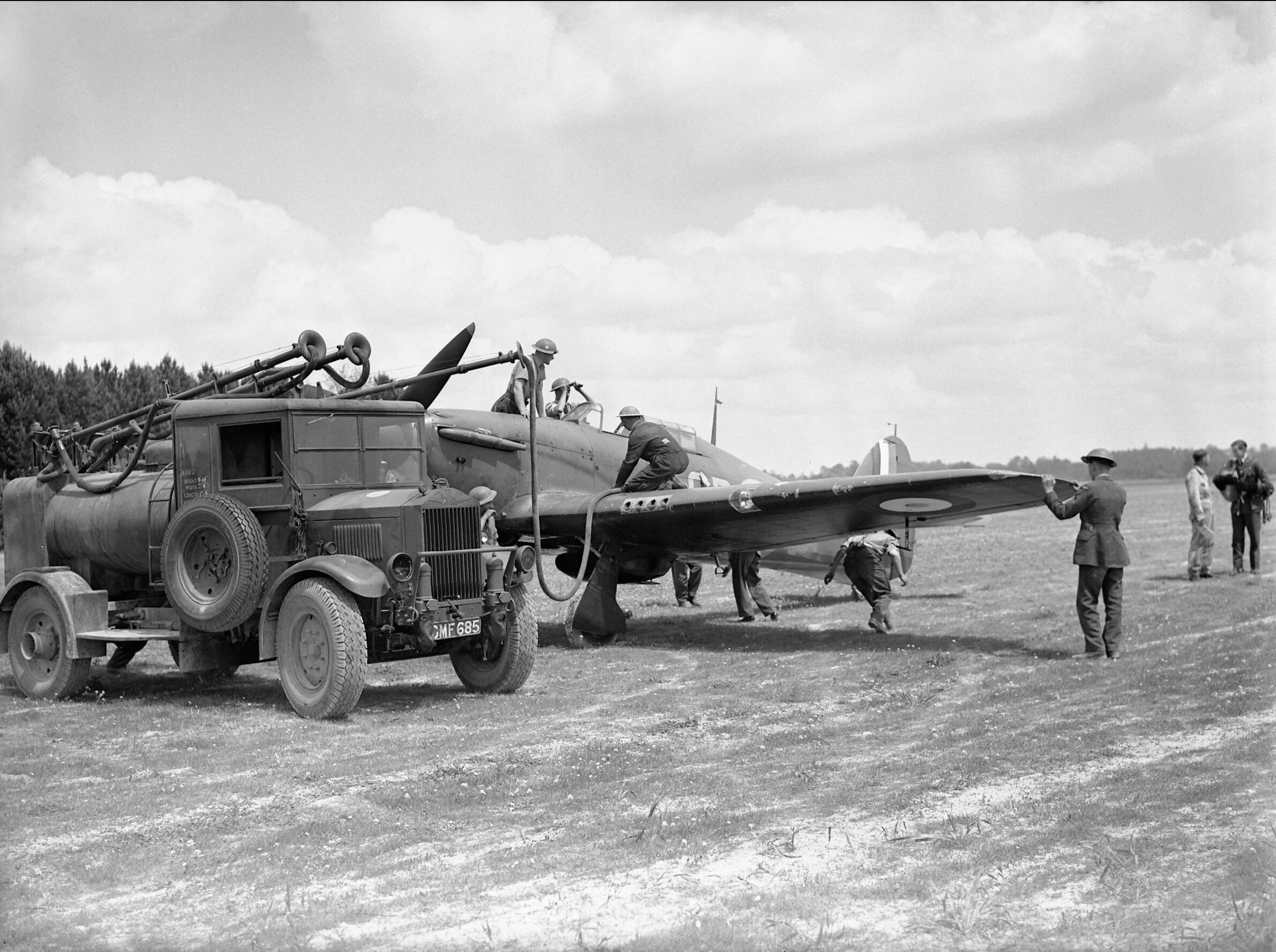 Hawker Hurricane RAF 501Sqn SD being refueled at Bethenville France 11th May 1940 IWM C1684