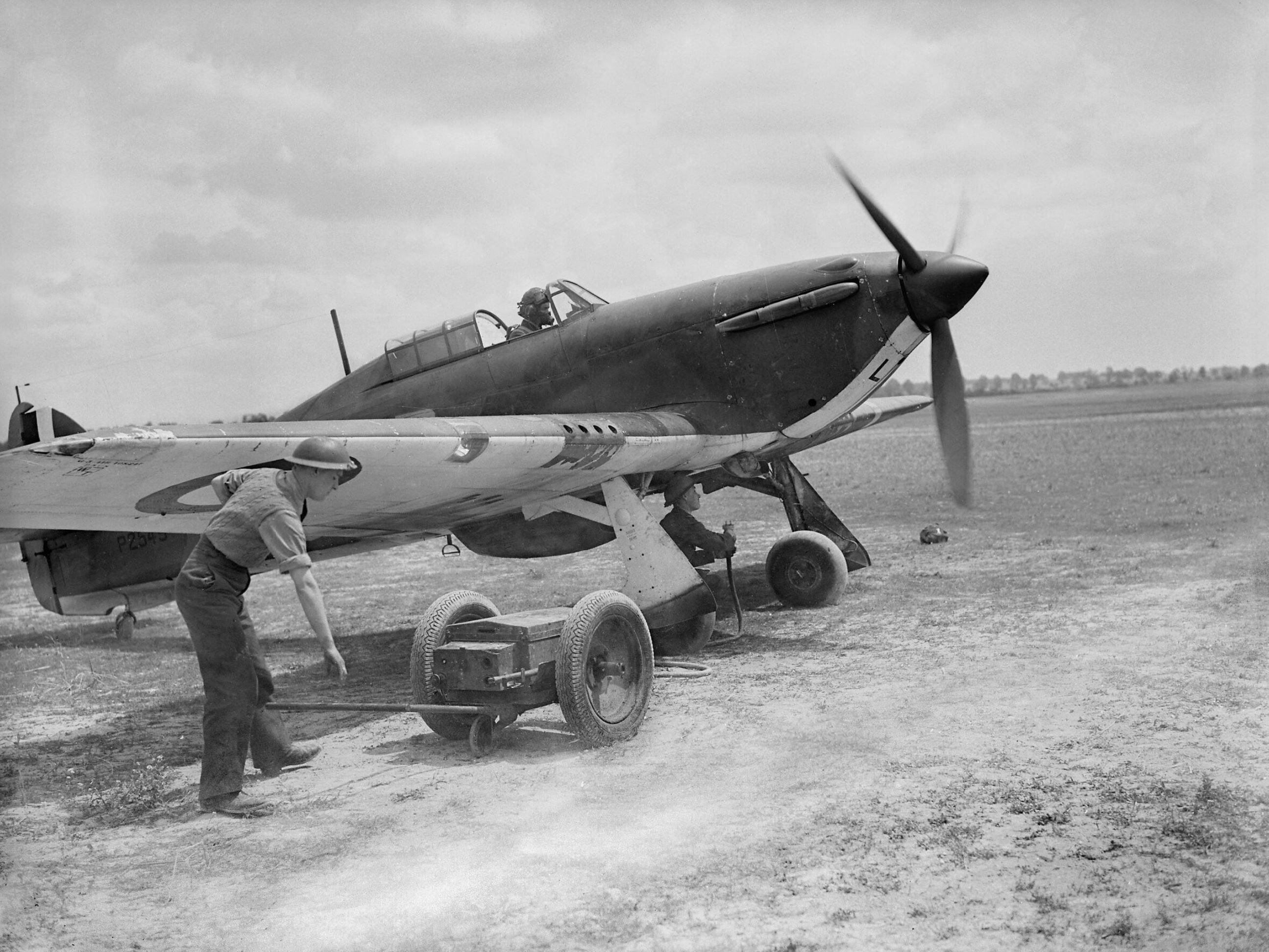 Hawker Hurricane RAF 501Sqn SDL at Bethenville France 11th May 1940 IWM C1682