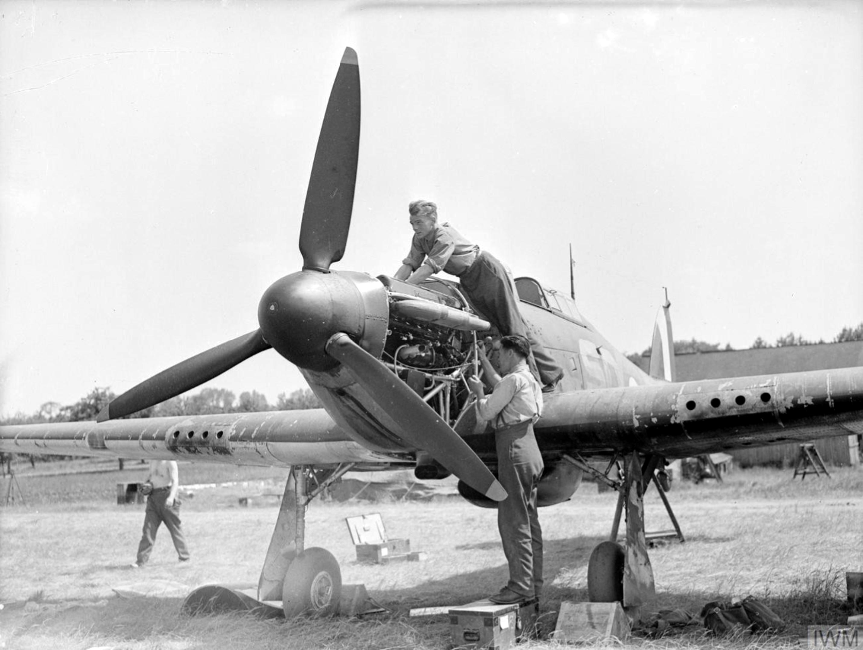 Hawker Hurricanes I RAF 501Sqn SD at Reims Champagne 1940 IWM CH1431