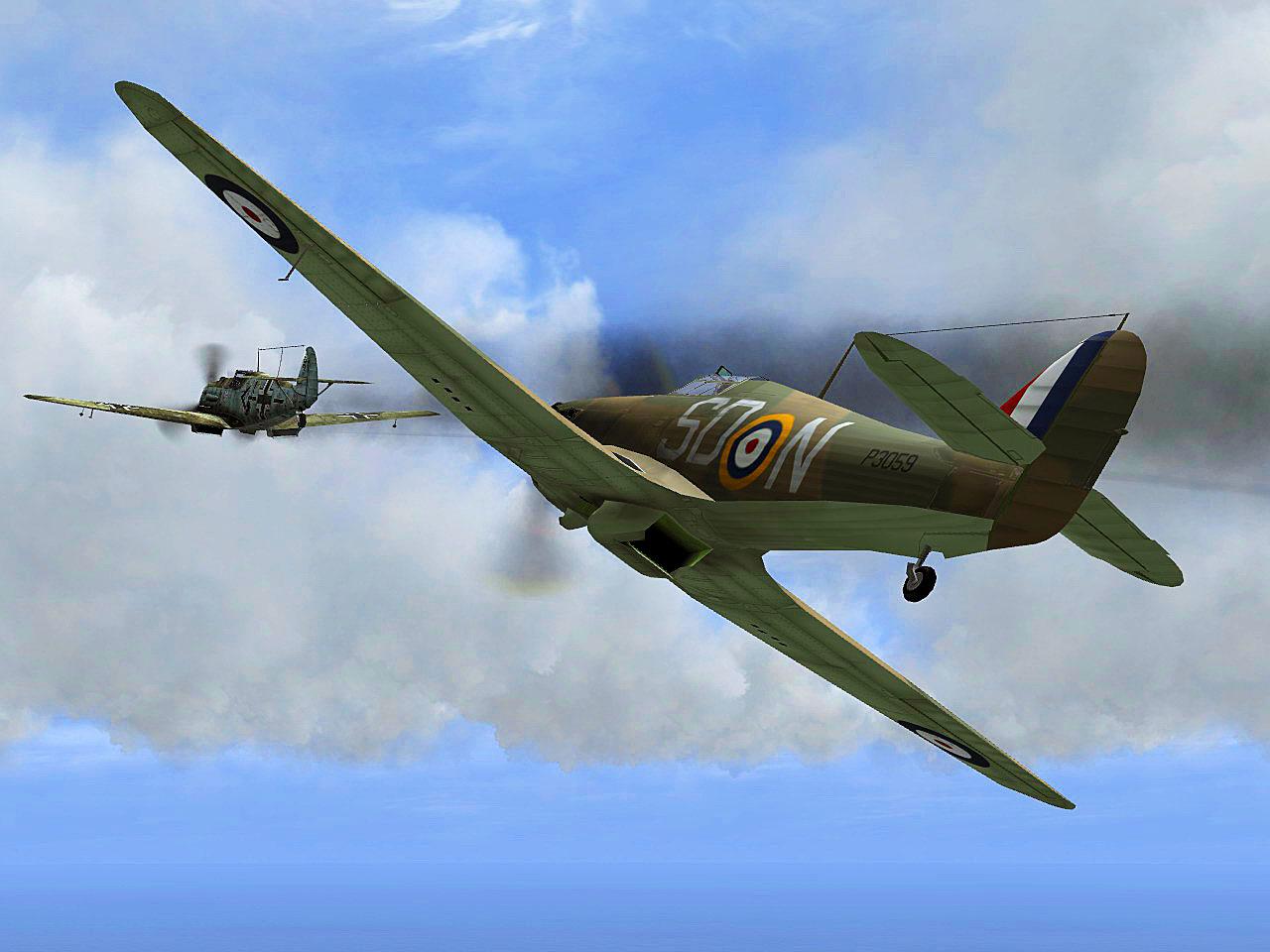 IL2 Hurricane I RAF 501Sqn SDN Lee P3059 England 1940 V01