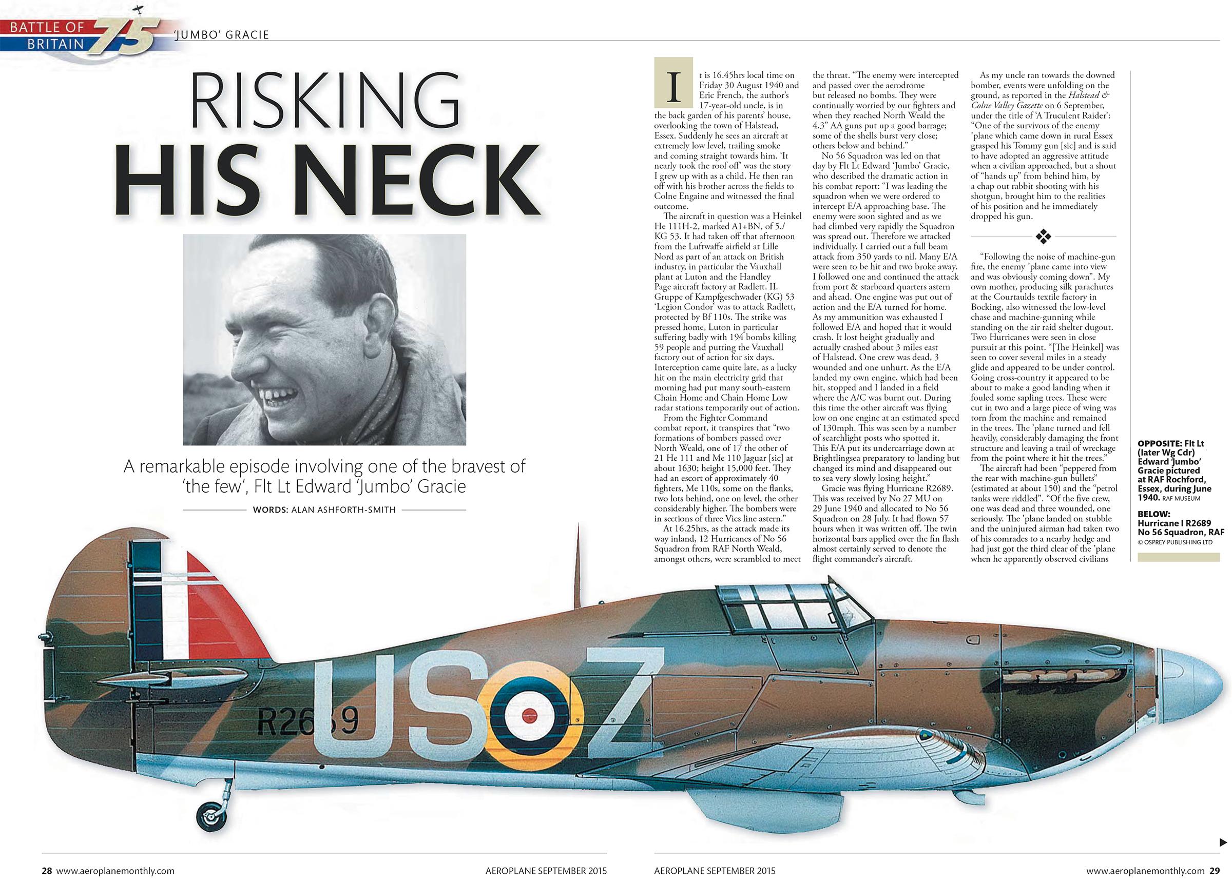 Hawker Hurricane I RAF 56Sqn USZ Edward Gracie R2689 Battle of Britain 30th Aug 1940 0A