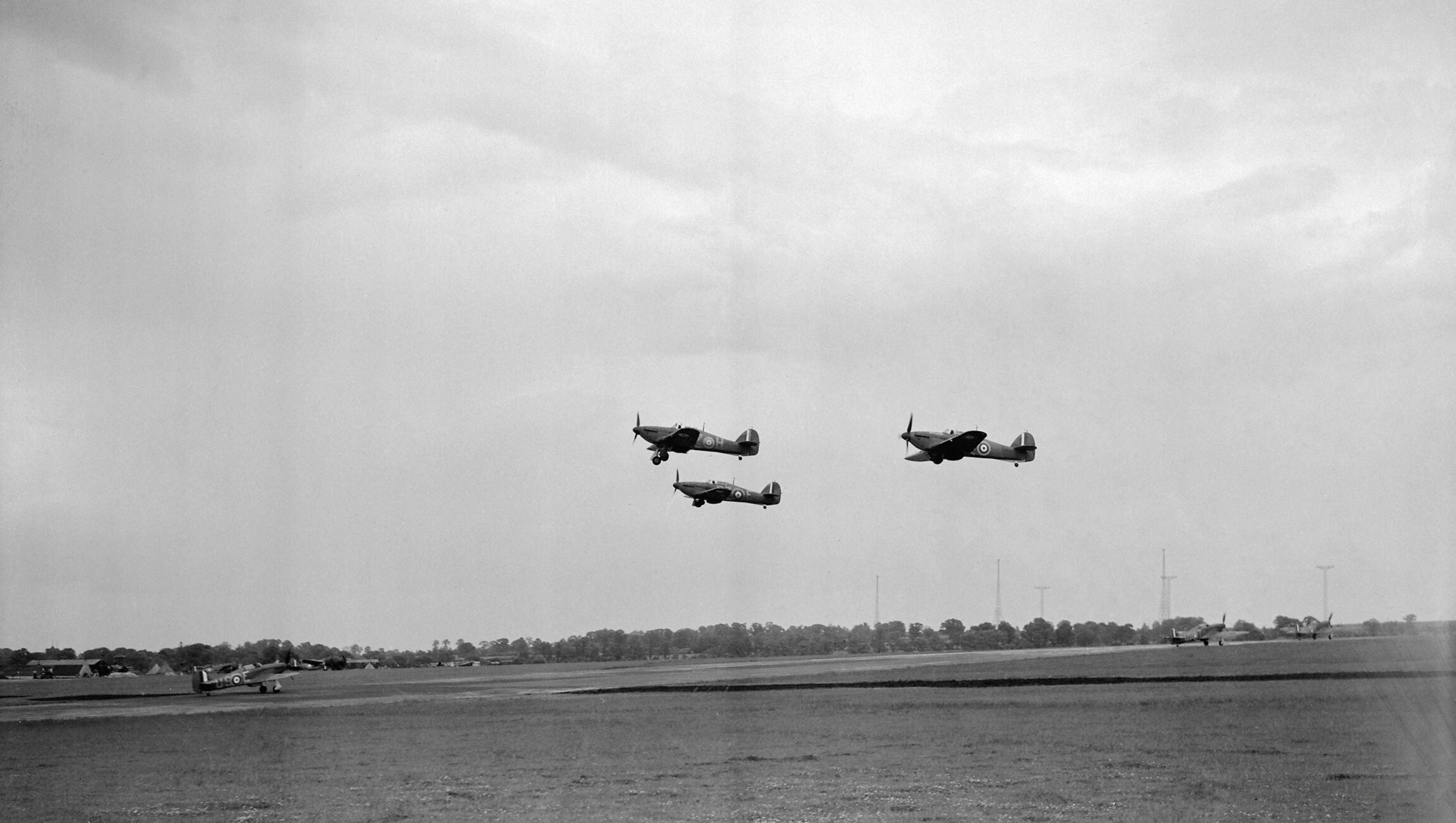Hurricane I RAF 56Sqn USE UST taxing at North Weald Essex IWM CH162