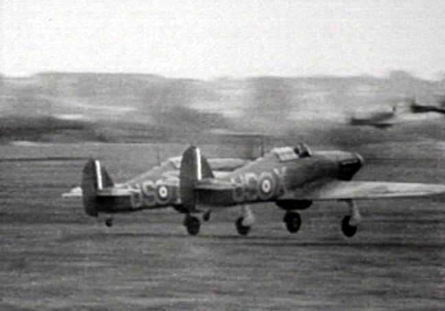 Hurricane I RAF 56Sqn USX and company taking off England 1940 01
