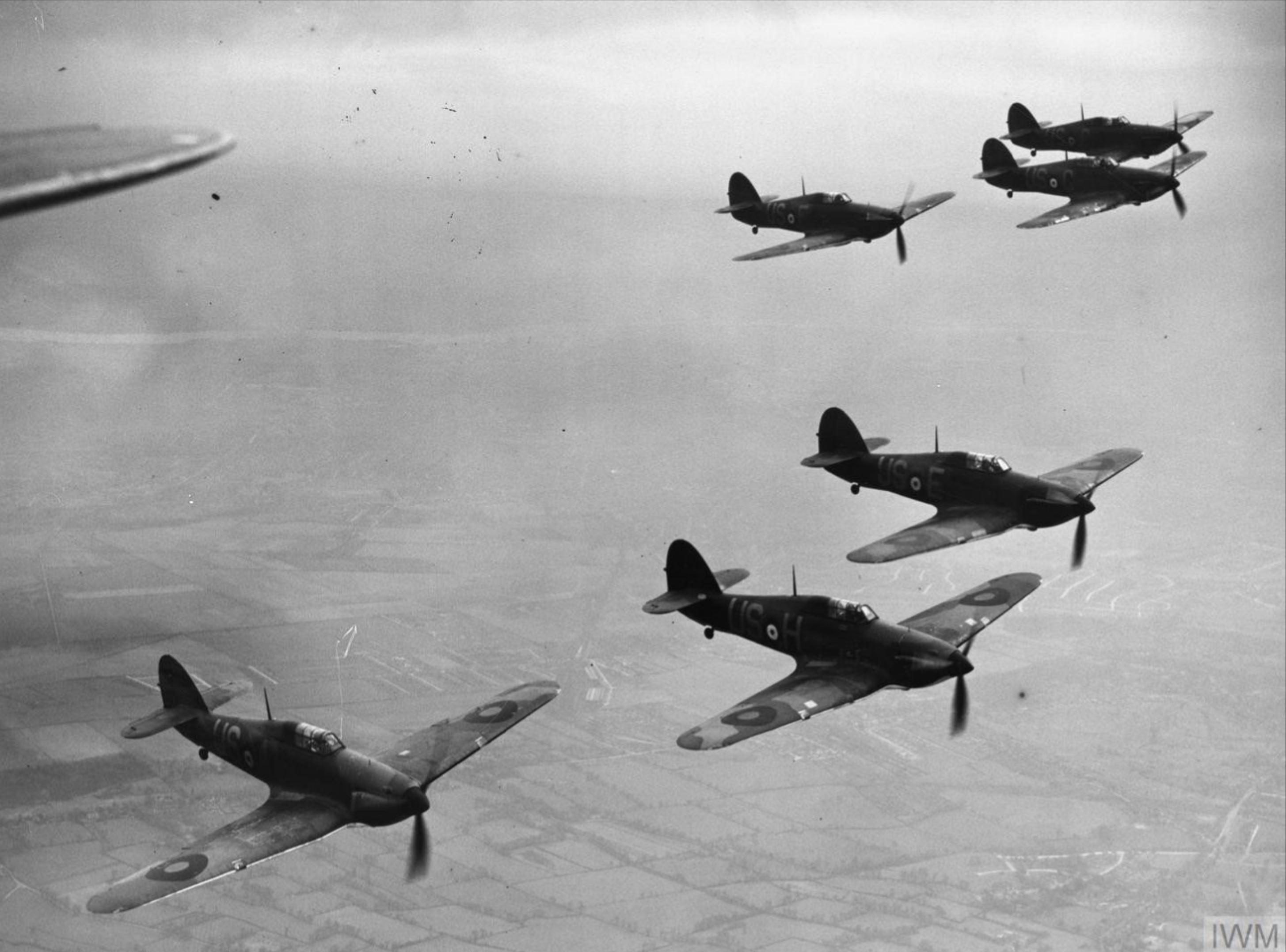 Hurricane V RAF 56Sqn in formation Apr 1940 IWM HU104756