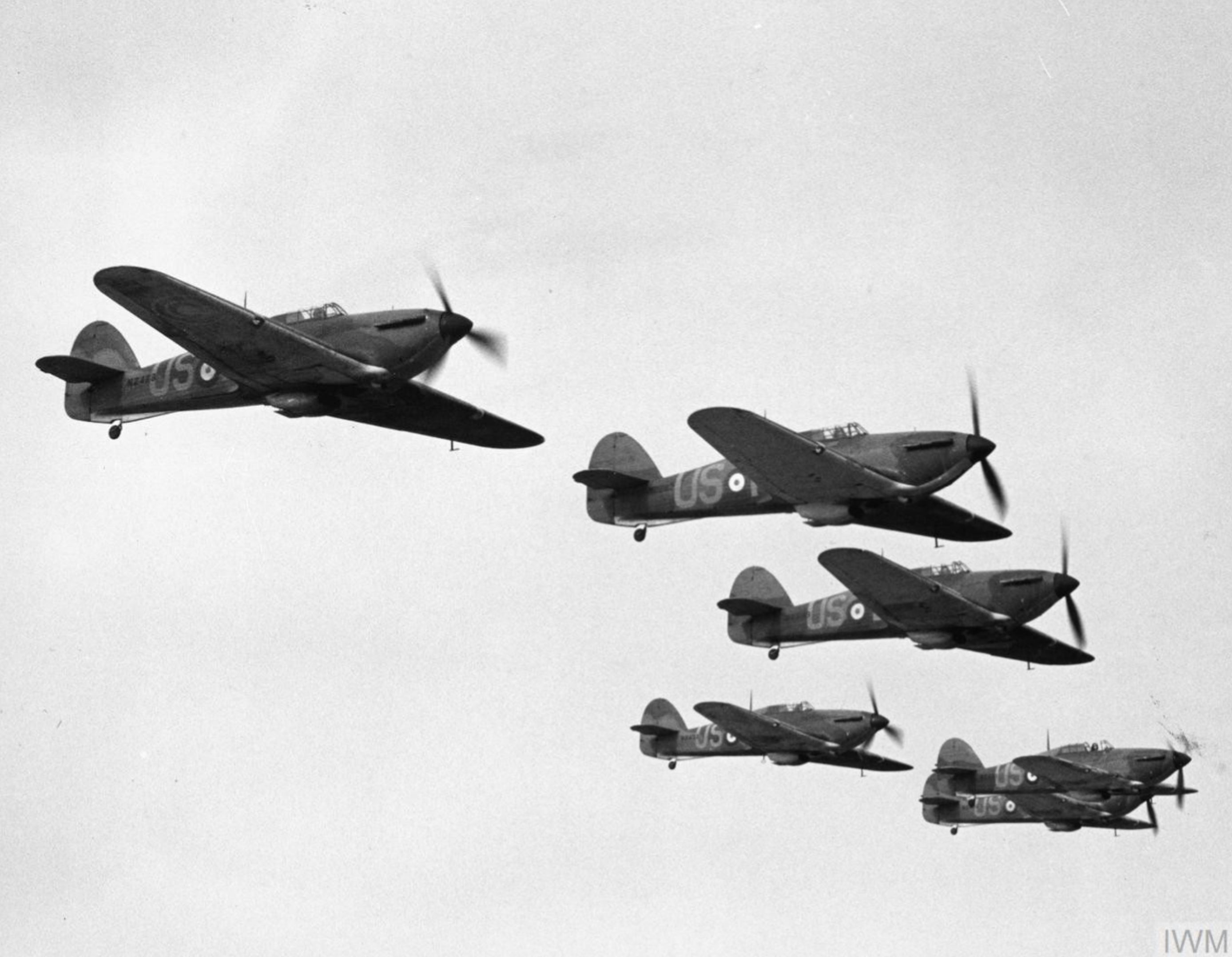 Hurricane V RAF 56Sqn in formation Apr 1940 IWM HU104757