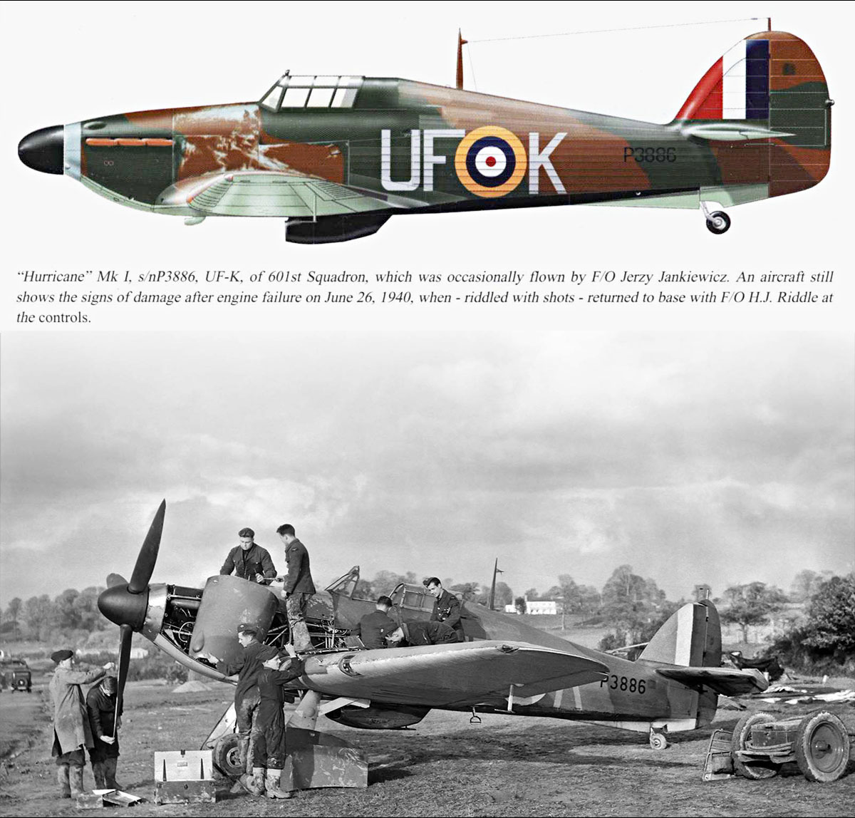 Hurricane I RAF 601Sqn UFK flown by HJ Riddle P3886 at RAF Exeter 1940 0A