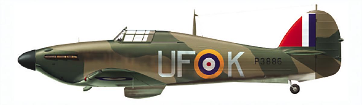 Hurricane I RAF 601Sqn UFK flown by HJ Riddle P3886 at RAF Exeter 1940 0B