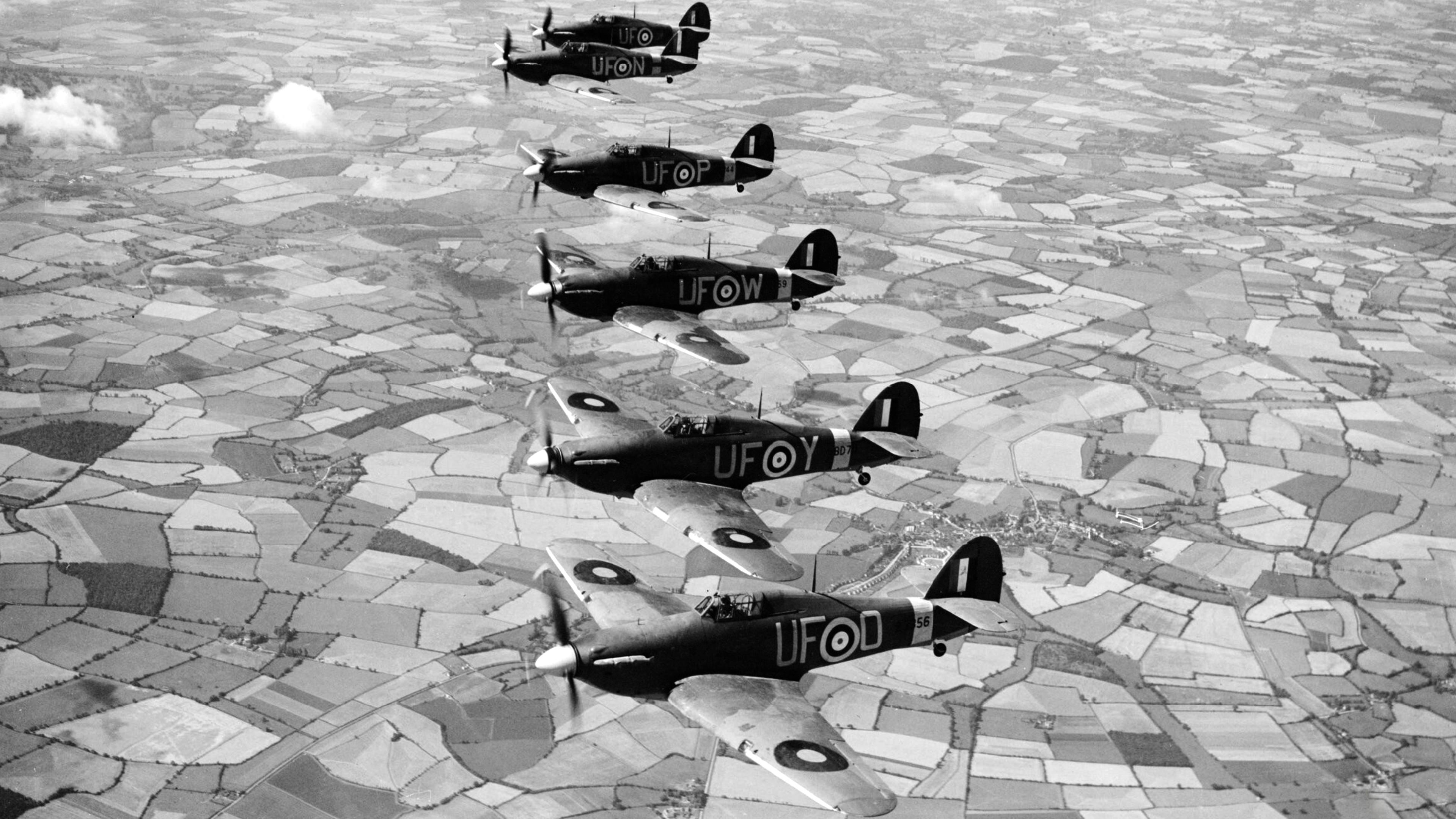Hurricane IIb RAF 601Sqn UFD UFY UFW UFP UFN near Thaxted Essex IWM CH3517a