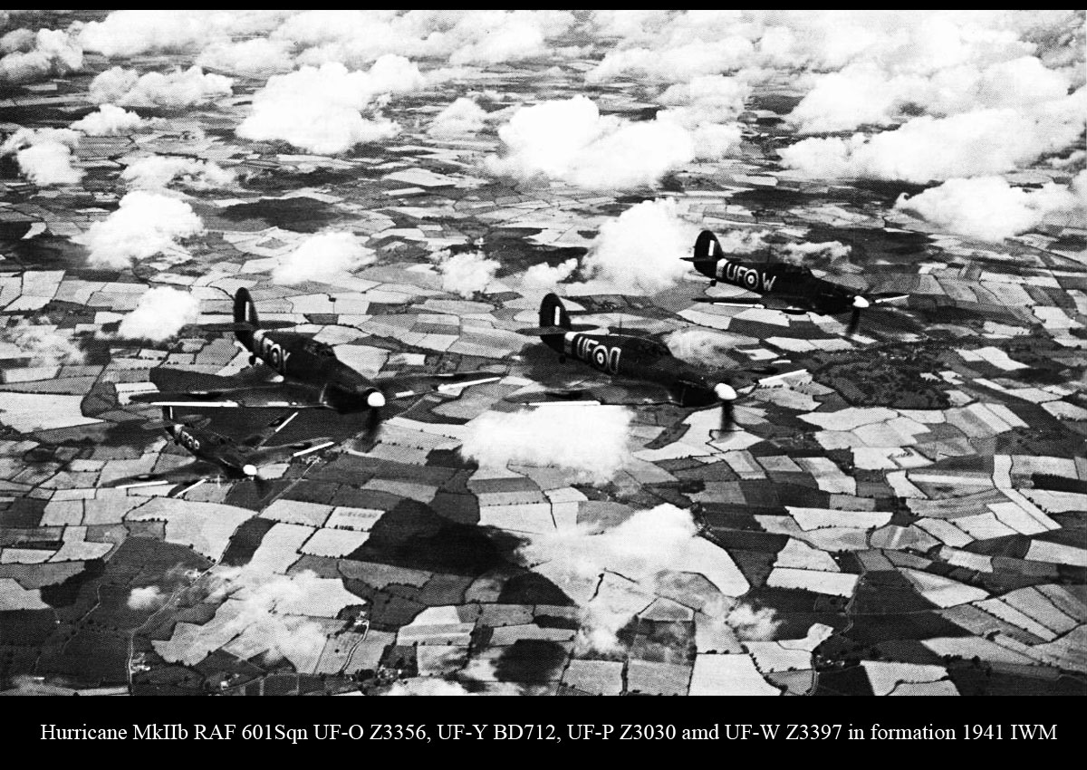 Hurricane IIb RAF 601Sqn UFO Z3356, UFY BD712, UFP Z3030 and UFW Z3397 in formation 1941 IWM