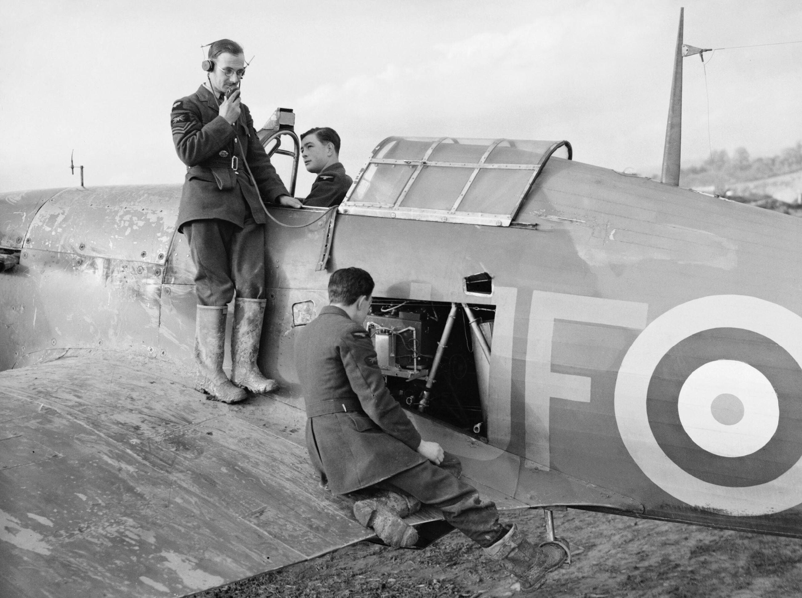 Hurricane Is RAF 601Sqn testing the VHF at Exeter Devon Nov 1940 IWM CH1636