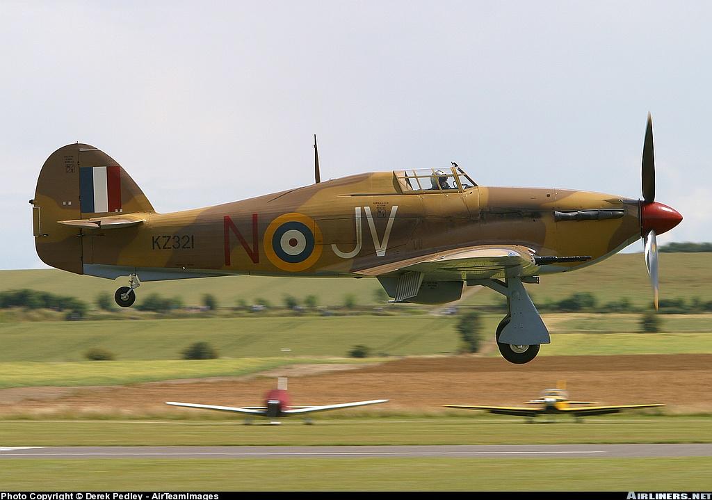 Airworthy Hawker Hurricane II warbird G HURY marked as RAF 6Sqn JV N KZ321 airshow collection 03