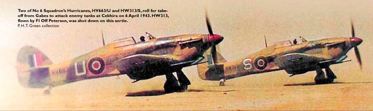 Hurricane IId RAF 6Sqn S HW313 Peterson sd attacking tanks at Skhira Tunisia 6th April 1943 01
