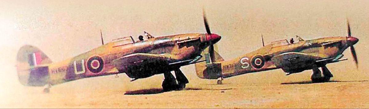 Hurricane IId RAF 6Sqn U HV663 taking off from Gabes Tunisia 6th April 1943 02