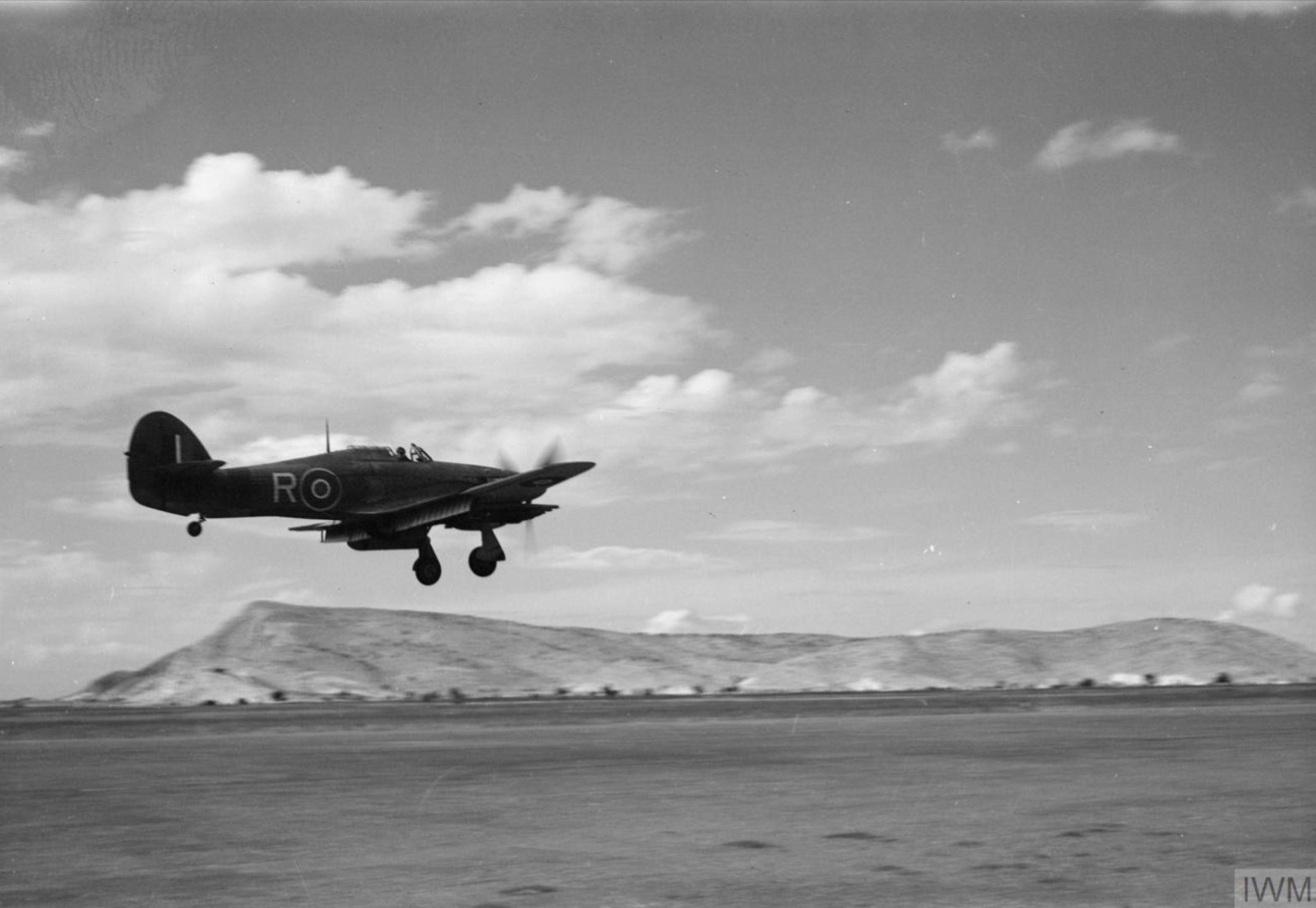 Hurricane IV RAF 6Sqn R LF498 arriving at Araxos Greece Sep 1944 IWM CNA3198