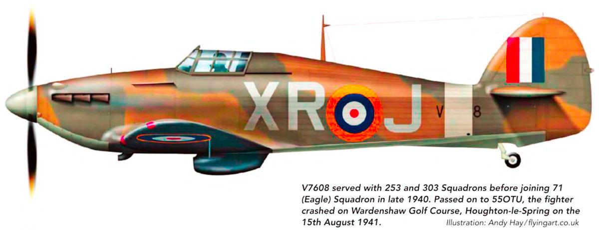 Hawker Hurricane I RAF 71Sqn XRJ V7608 England 1941 0A