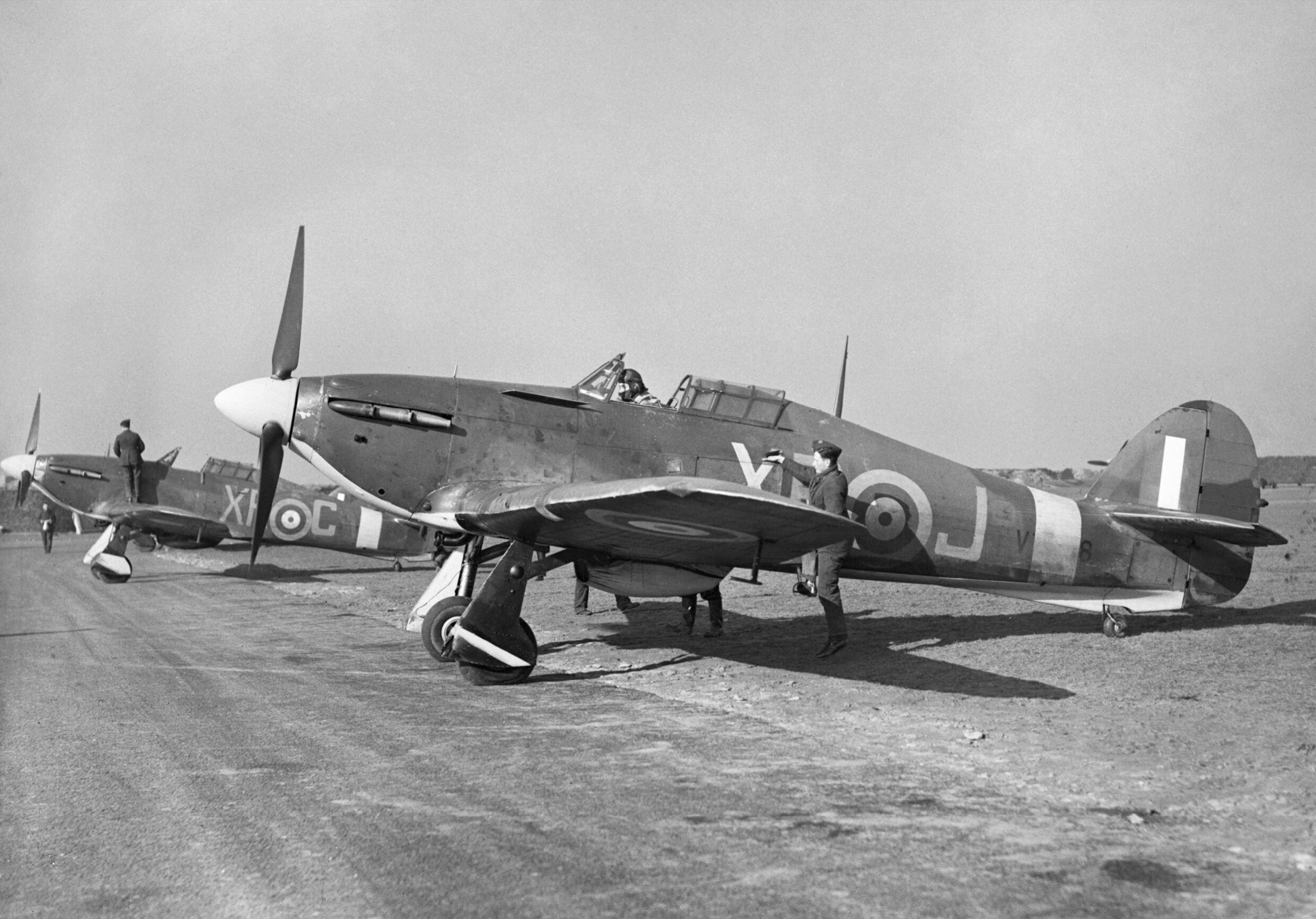 Hawker Hurricane I RAF 71Sqn XRJ V7608 at Kirton in Lindsey Lincolnshire England 1941 CH2412