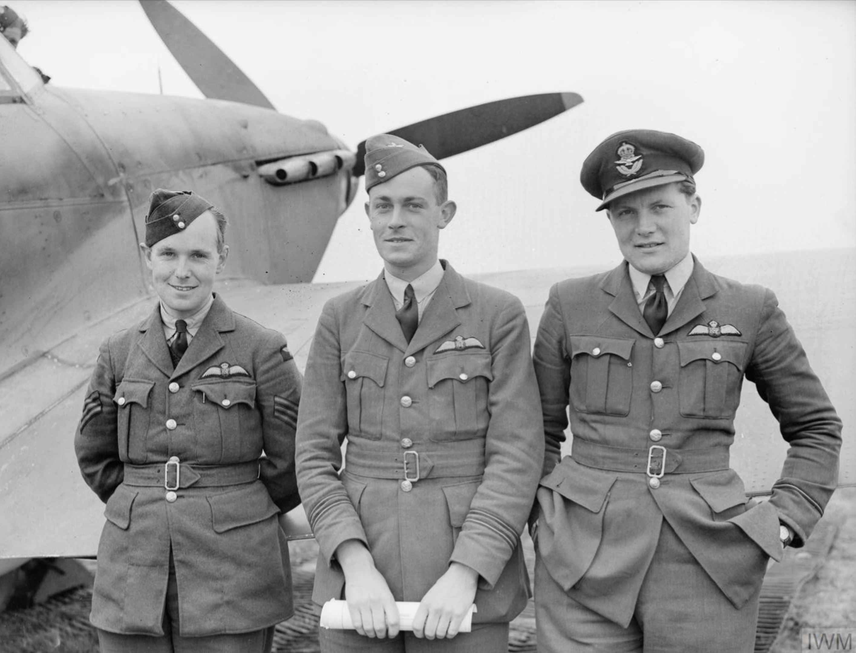Aircrew RAF 73Sqn Lionel Pilkington, Reginald Lovett, Newall Orton April 1940 IWM C1329