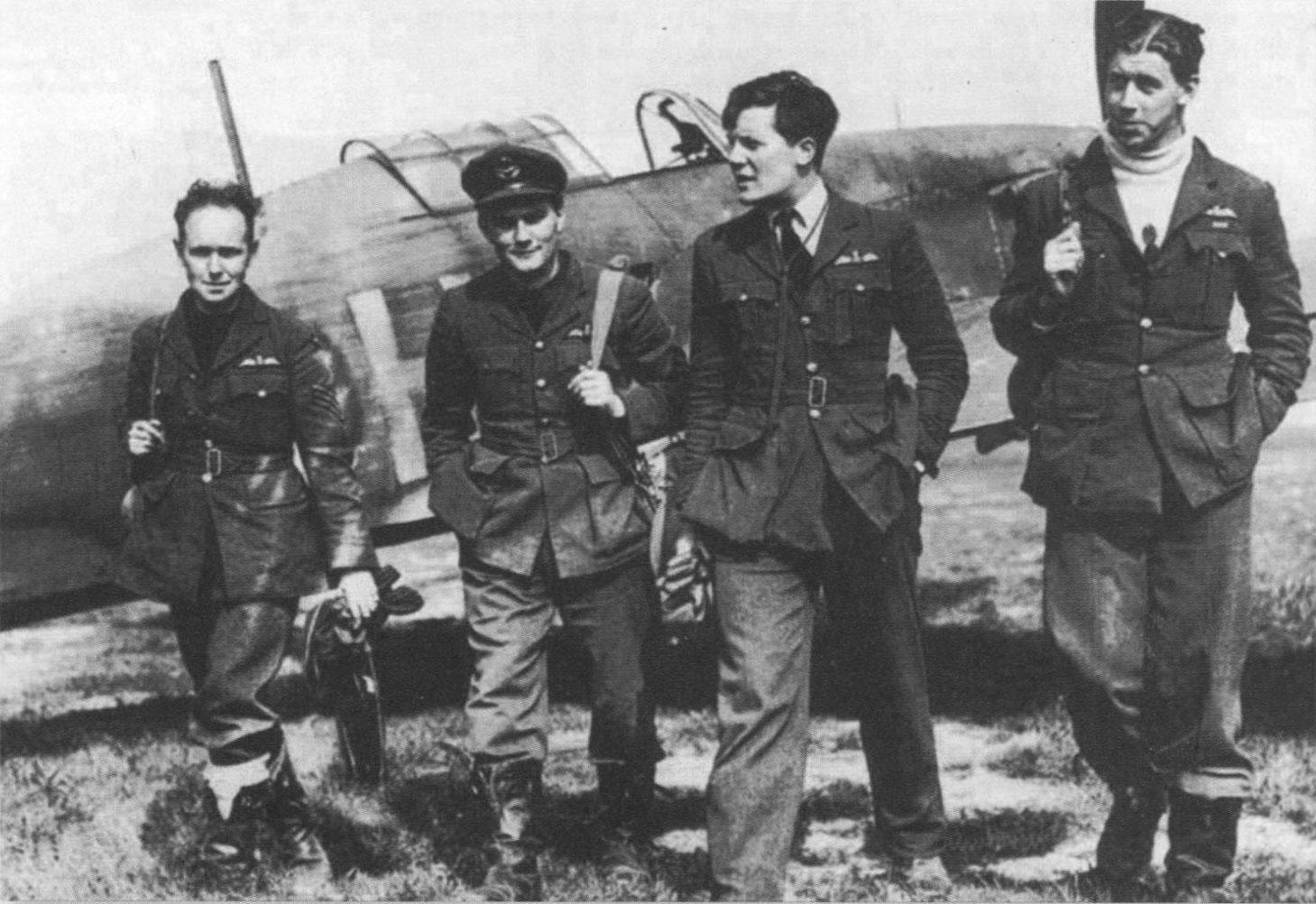Aircrew RAF 73Sqn pilots with EJ Cobber Kain far left France 1940 01