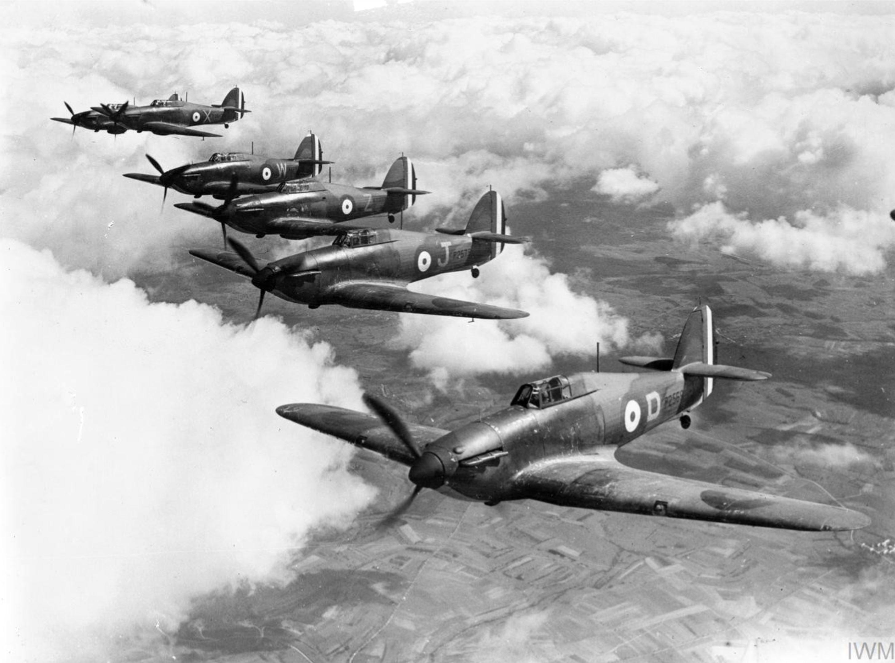Hawker Hurricane I RAF 73Sqn D P2569 J P2575 over France April 1940 IWM C1291