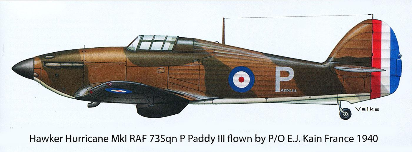 Hawker Hurricane I RAF 73Sqn P Paddy III flown by PO E.J. Kain France 1940 0A