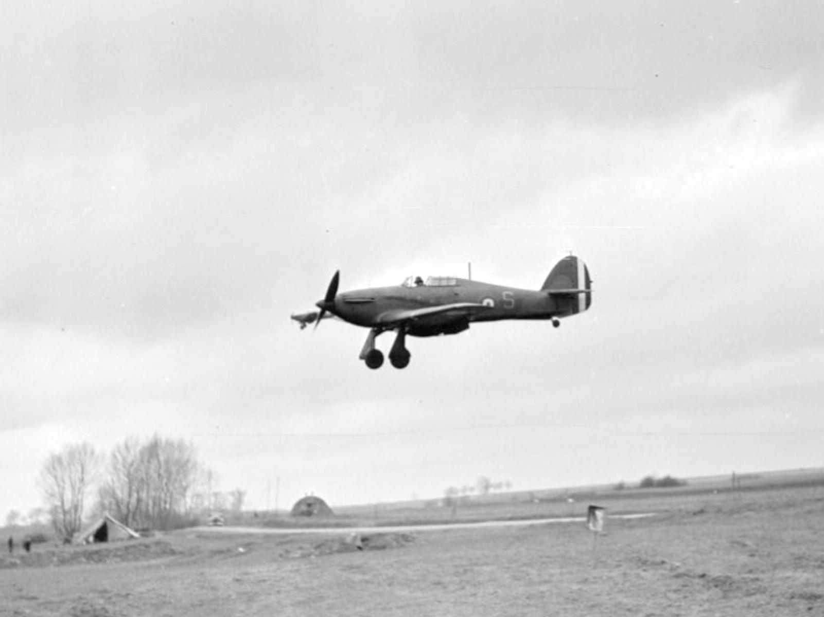 Hawker Hurricane I RAF 73Sqn S landing at Rouvre April 1940 IWM C1241x