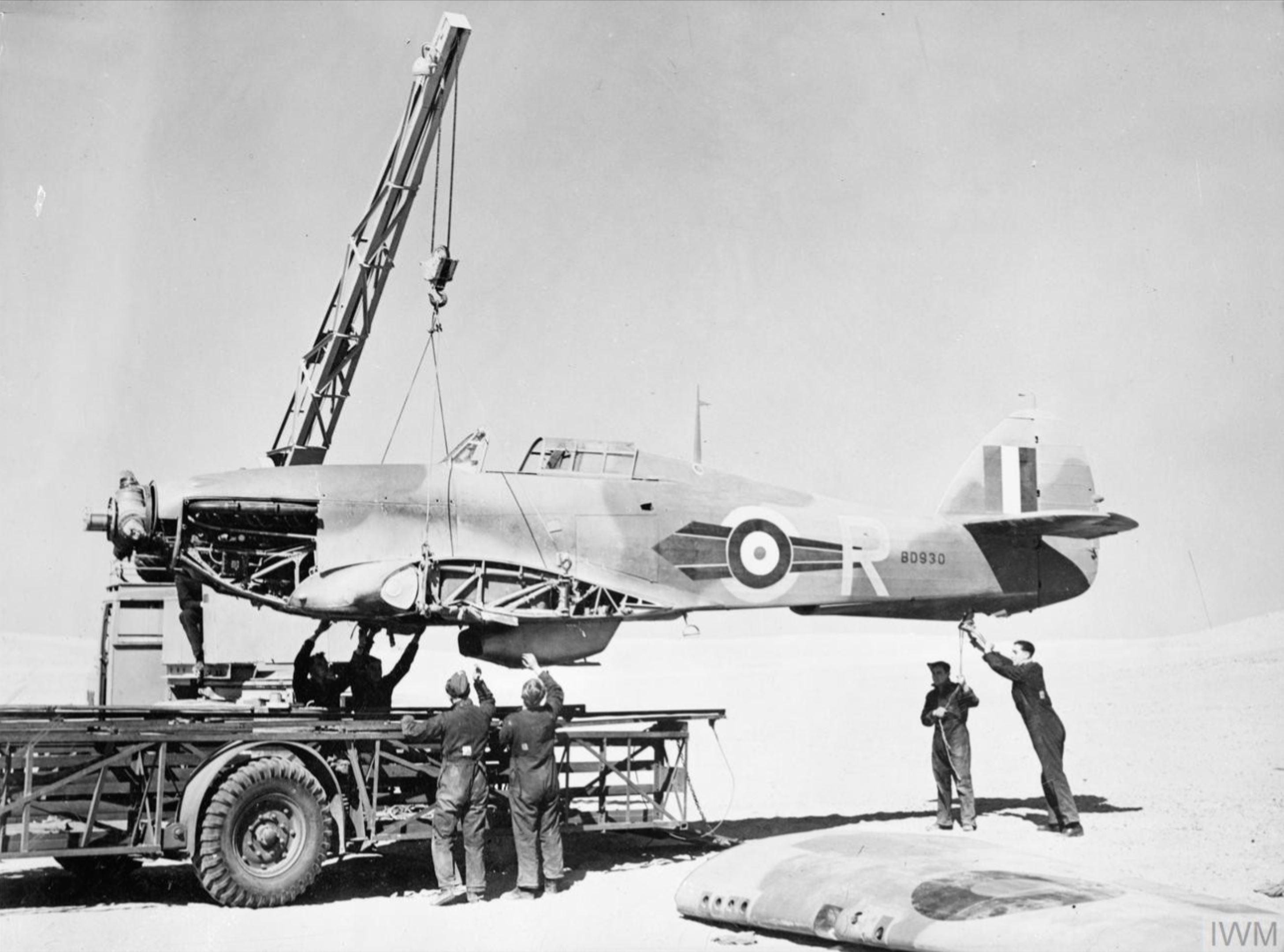 Hawker Hurricane IIb RAF 73Sqn R BD930 being salvaged by 53RSU North Africa 1942 IWM CM2240