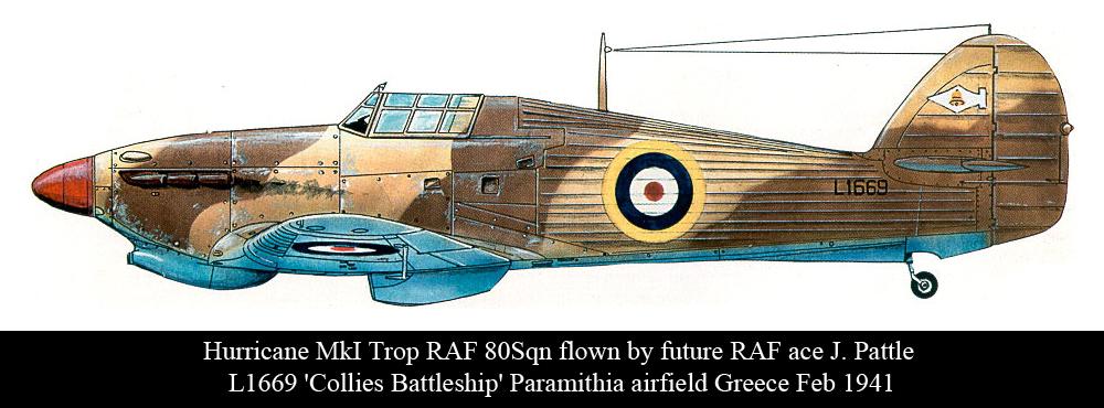 Artwork Hurricane I Trop RAF 80Sqn J. Pattle L1669 Collies Battleship Paramithia Greece Feb 1941 0A