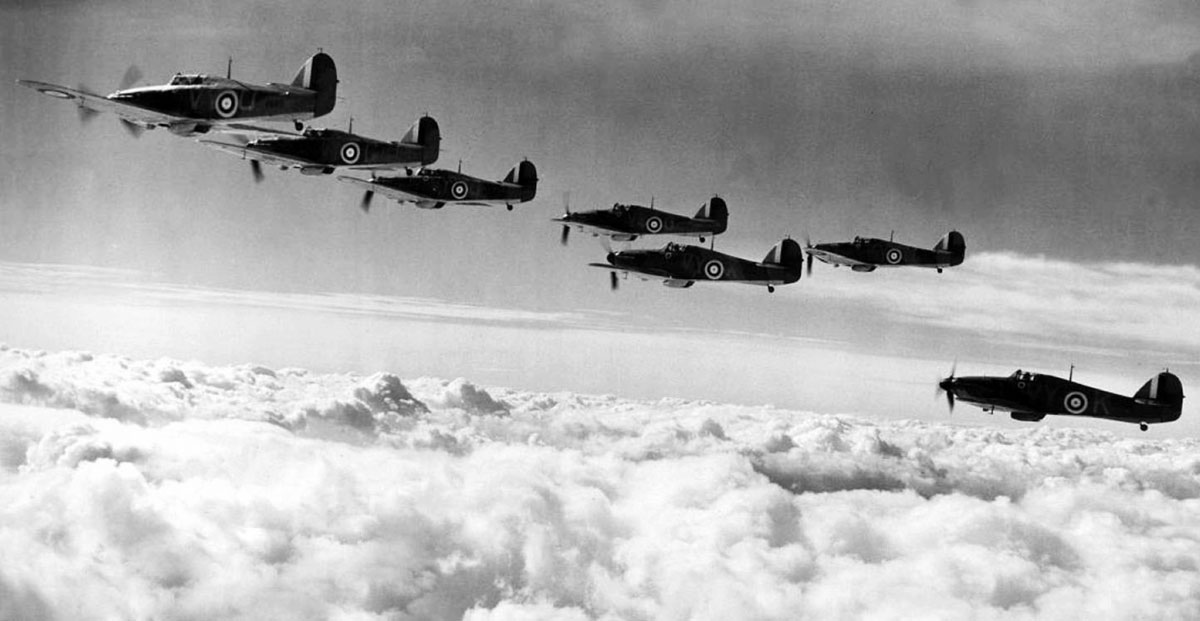 Hawker Hurricane I RAF 85Sqn VYK P3408 in formation Battle of Britain 5th Oct 1940 01