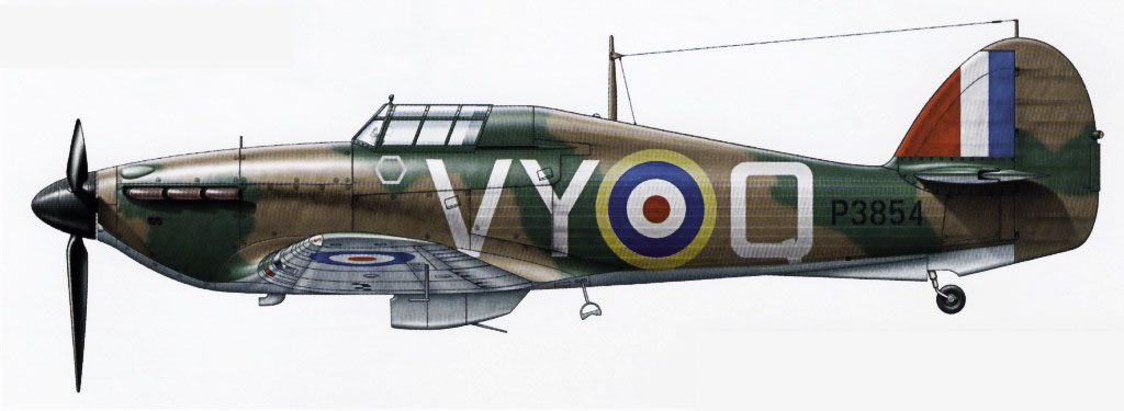 Hawker Hurricane I RAF 85Sqn VYQ Peter Townsend P3854 England July 1940 0A