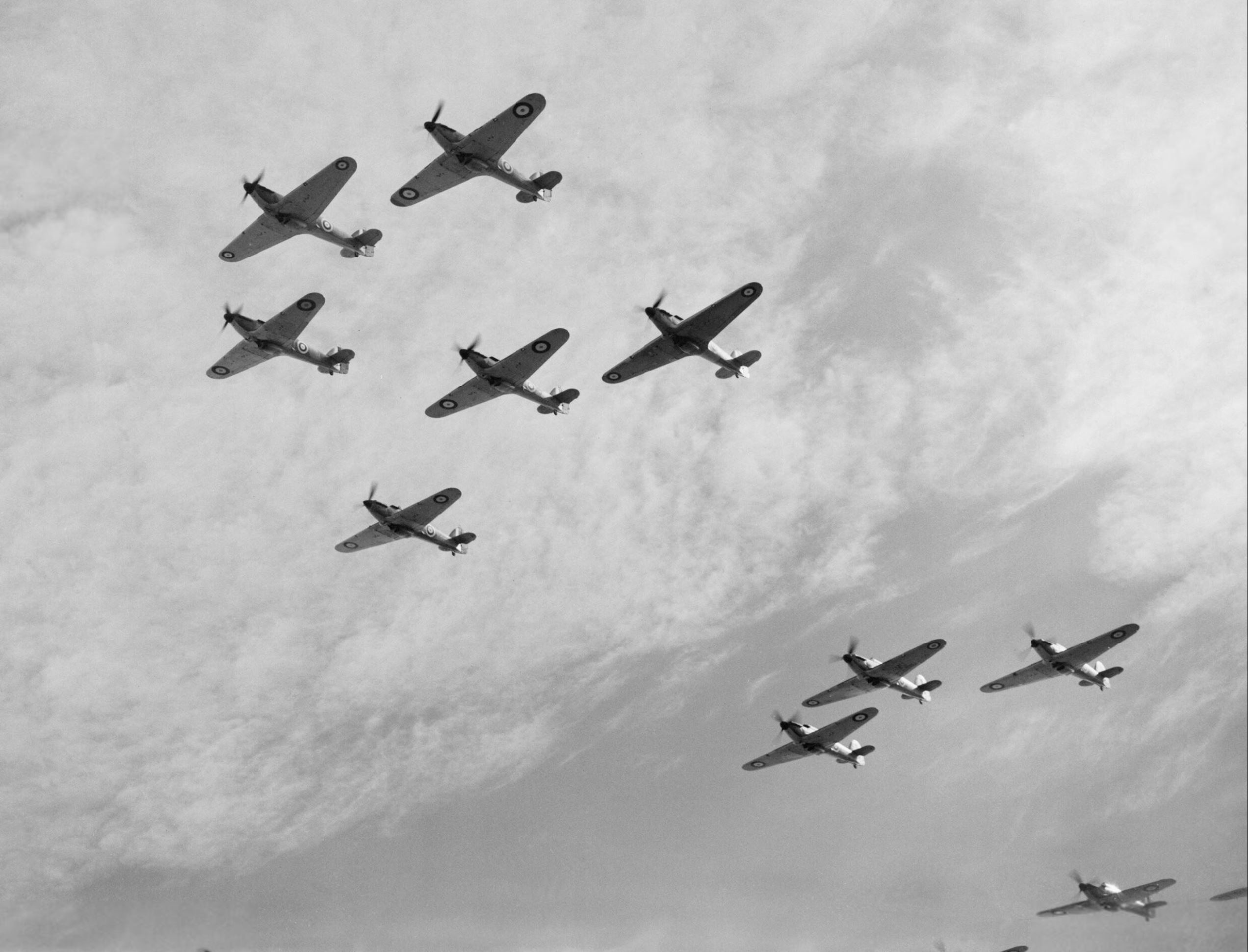Hurricanes Is RAF 85Sqn in group formation Battle of Britain 1940 IWM C1500