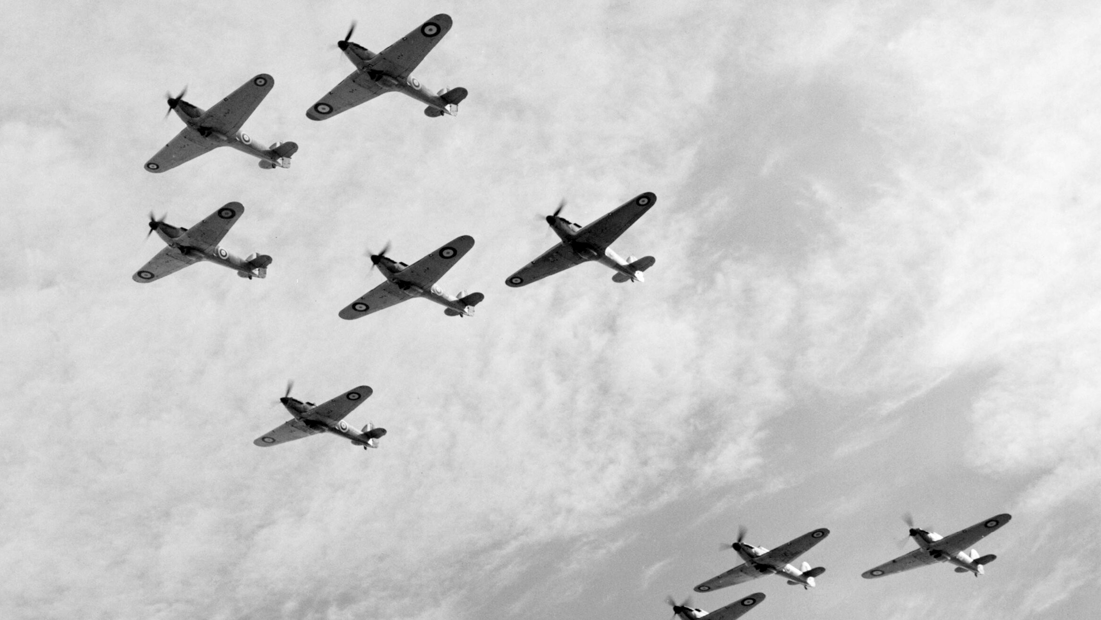 Hurricanes Is RAF 85Sqn in group formation Battle of Britain 1940 IWM C1500a