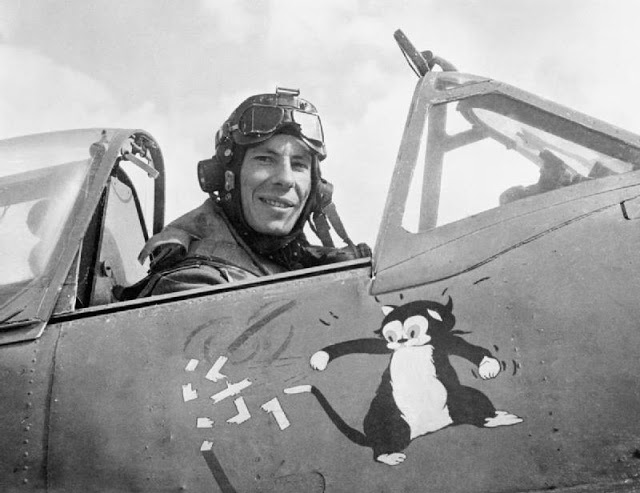 Aircrew RAF Wing Commader Ian Gleed showing a cartoon of Figaro the cat batting a swastika Tunisia 1943 IWM5005