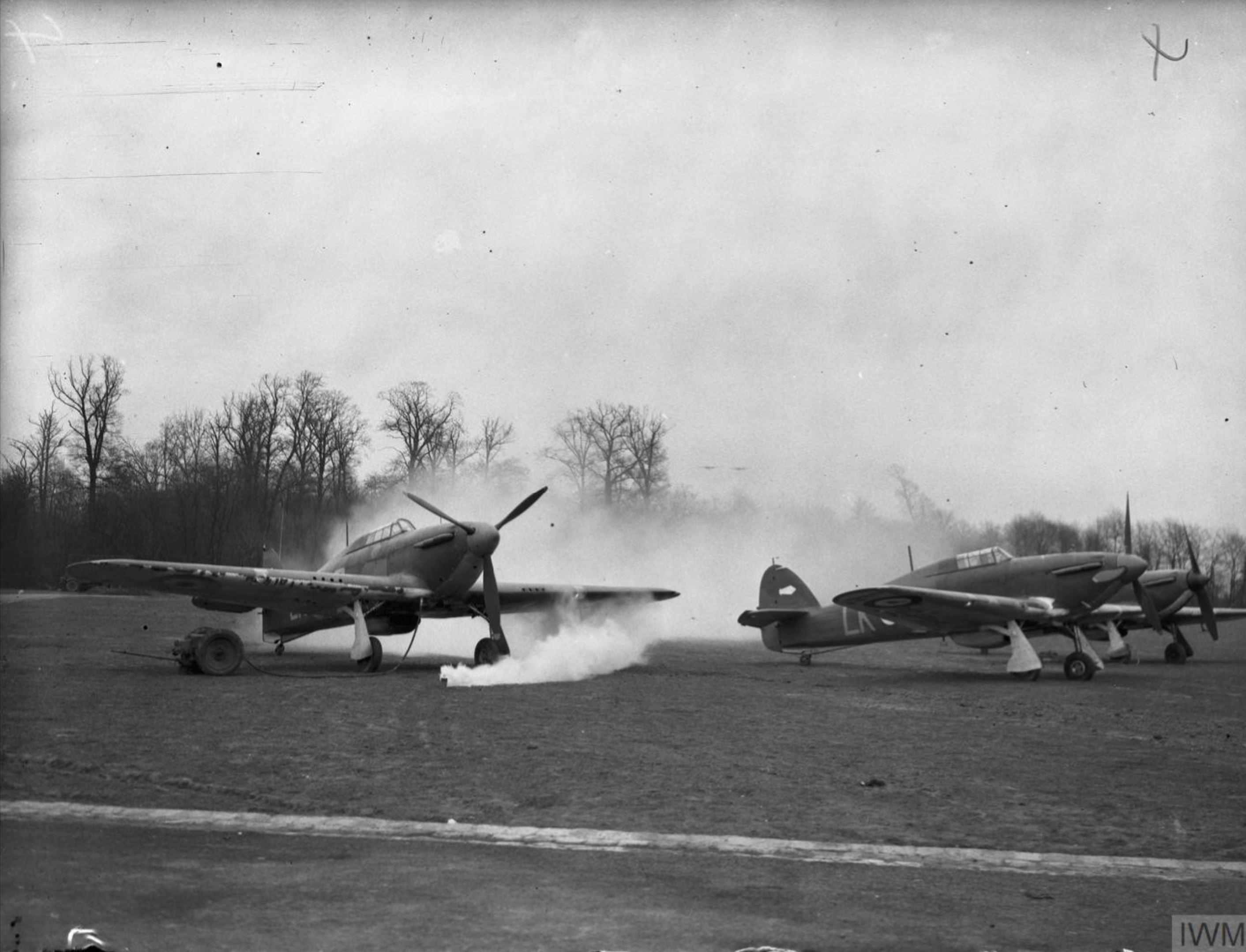 Hurricane I RAF 87Sqn simulating a attack Lille Seclin France Mar 1940 IWM C1152