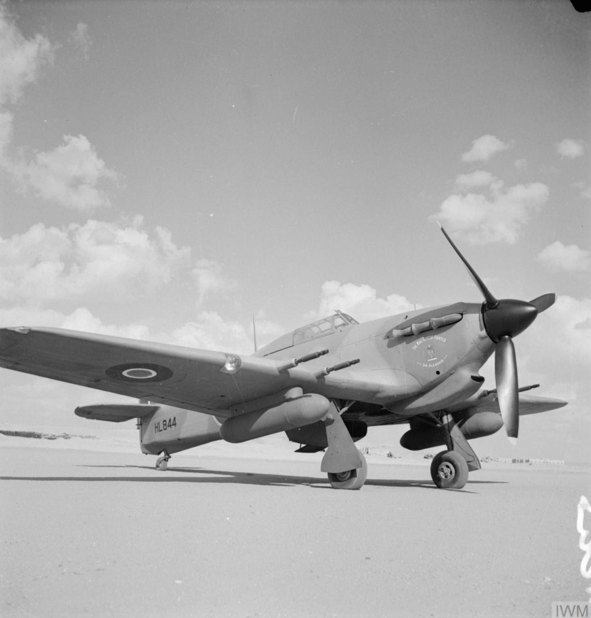 Hawker Hurricane IIc Trop RAF 94Sqn HL844 the Mac Robert Fighter Sir Alasdair IWM CM3401