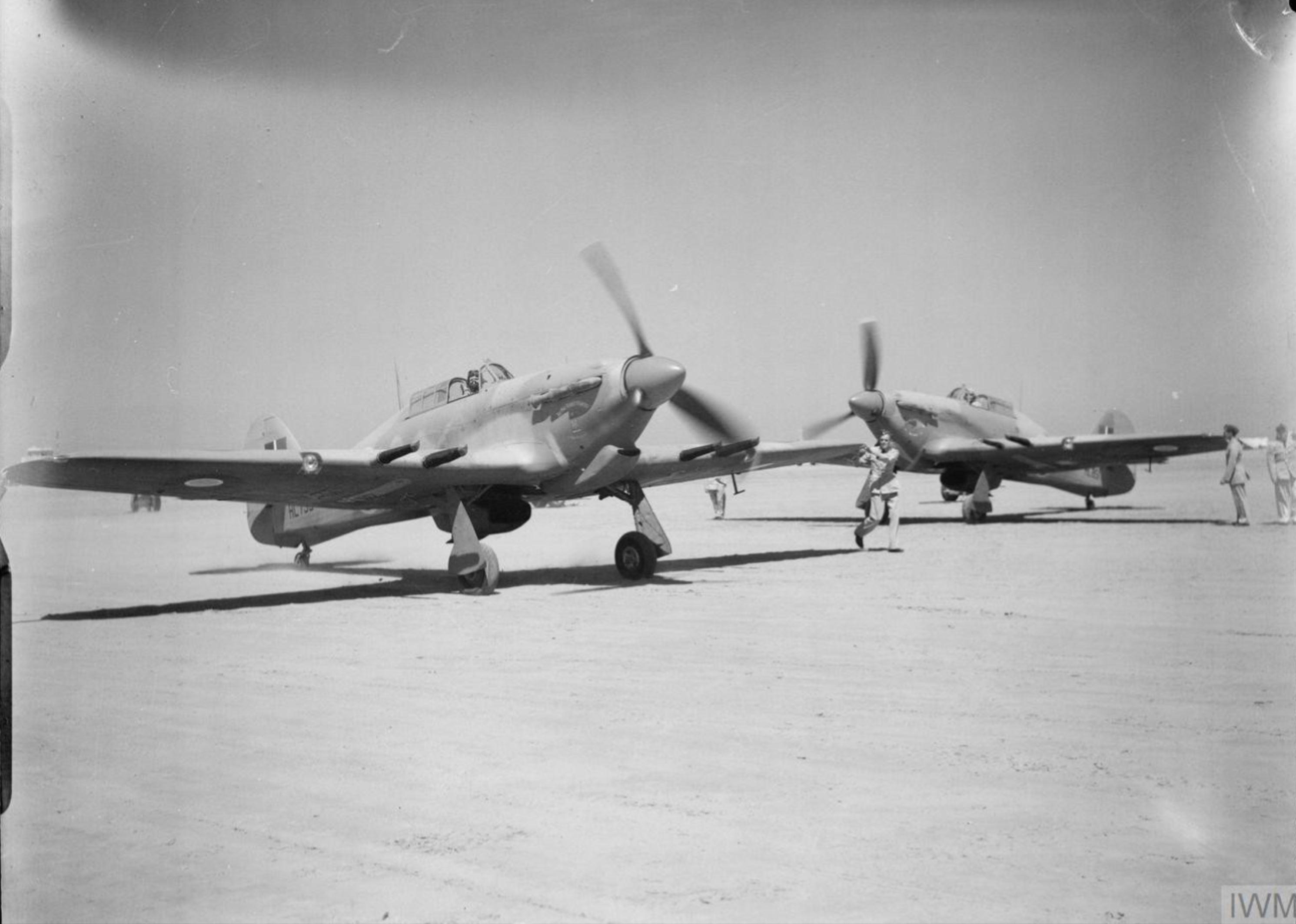 Hurricane IIc RAF 94Sqn HL735 n HL851 at El Gamil Egypt IWM CM3521
