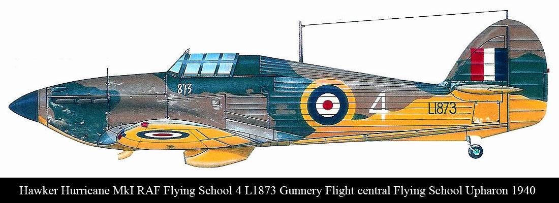 Artwork Hurricane I RAF Flying School 4 L1873 Gunnery Flight central Flying School Upharon 1940 0A