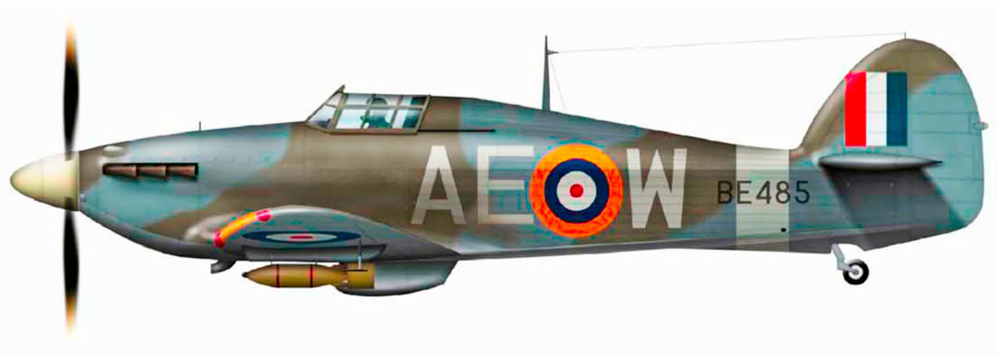 Hurricane IIb RCAF 402Sqn AEW BE485 during operation Jubilee over Dieppe France 1942 0A