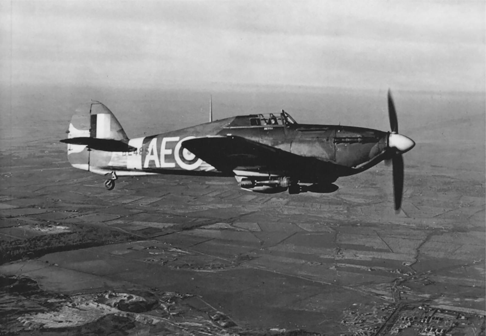 Hurricane IIb RCAF 402Sqn AEW BE485 during operation Jubilee over Dieppe France 1942 IWM 01