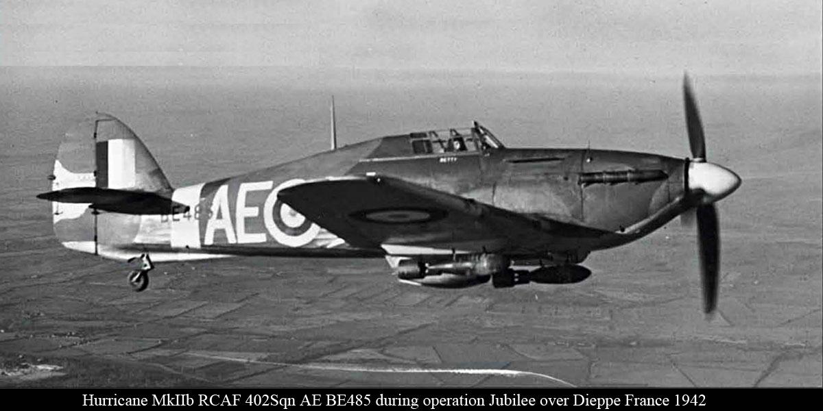 Hurricane IIb RCAF 402Sqn AEW BE485 during operation Jubilee over Dieppe France 1942 IWM 03