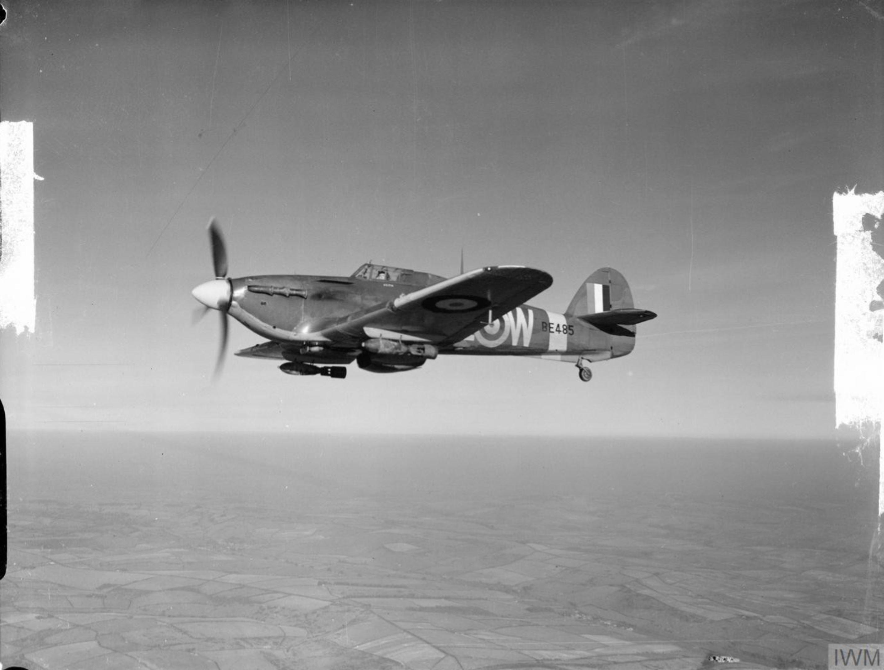 Hurricane IIb RCAF 402Sqn AEW BE485 during operation Jubilee over Dieppe France 1942 IWM CH4566