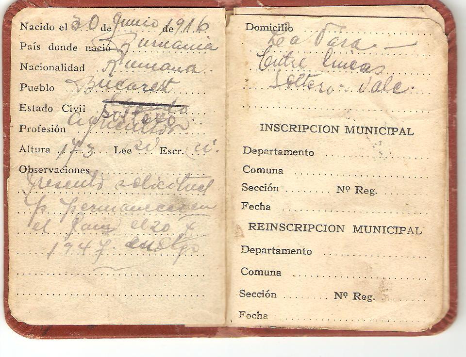 Aircrew Romanian pilot Petre Cordescu ID papers 02